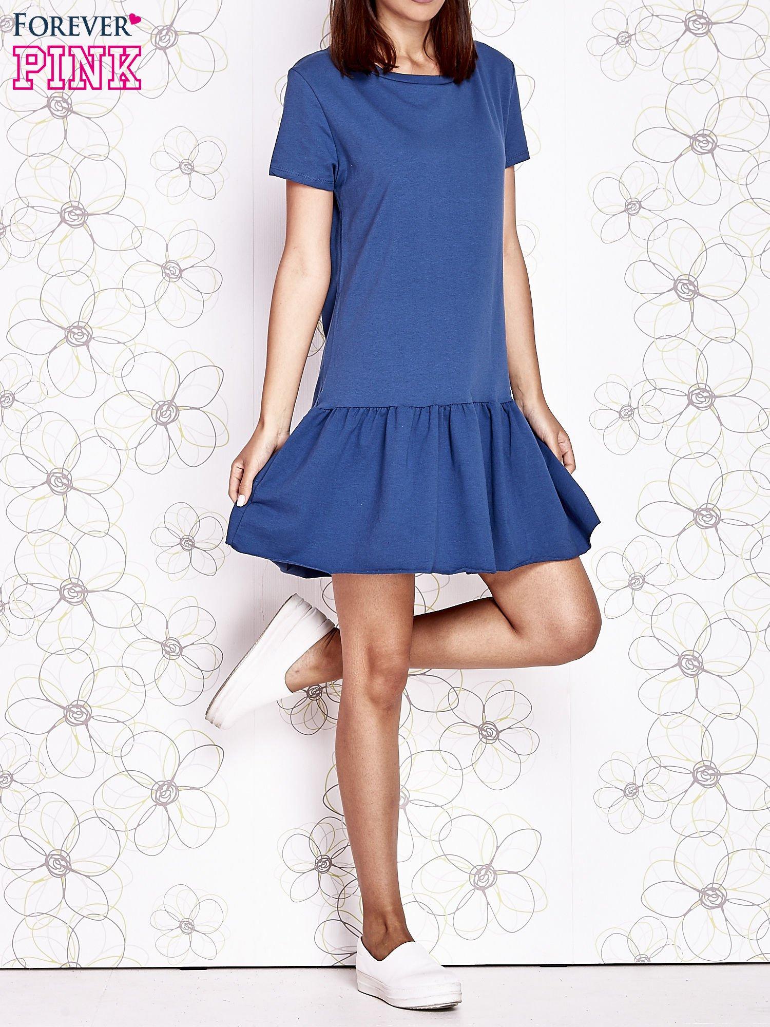 Ciemnoniebieska dresowa sukienka z wycięciem na plecach                                   zdj.                                  6