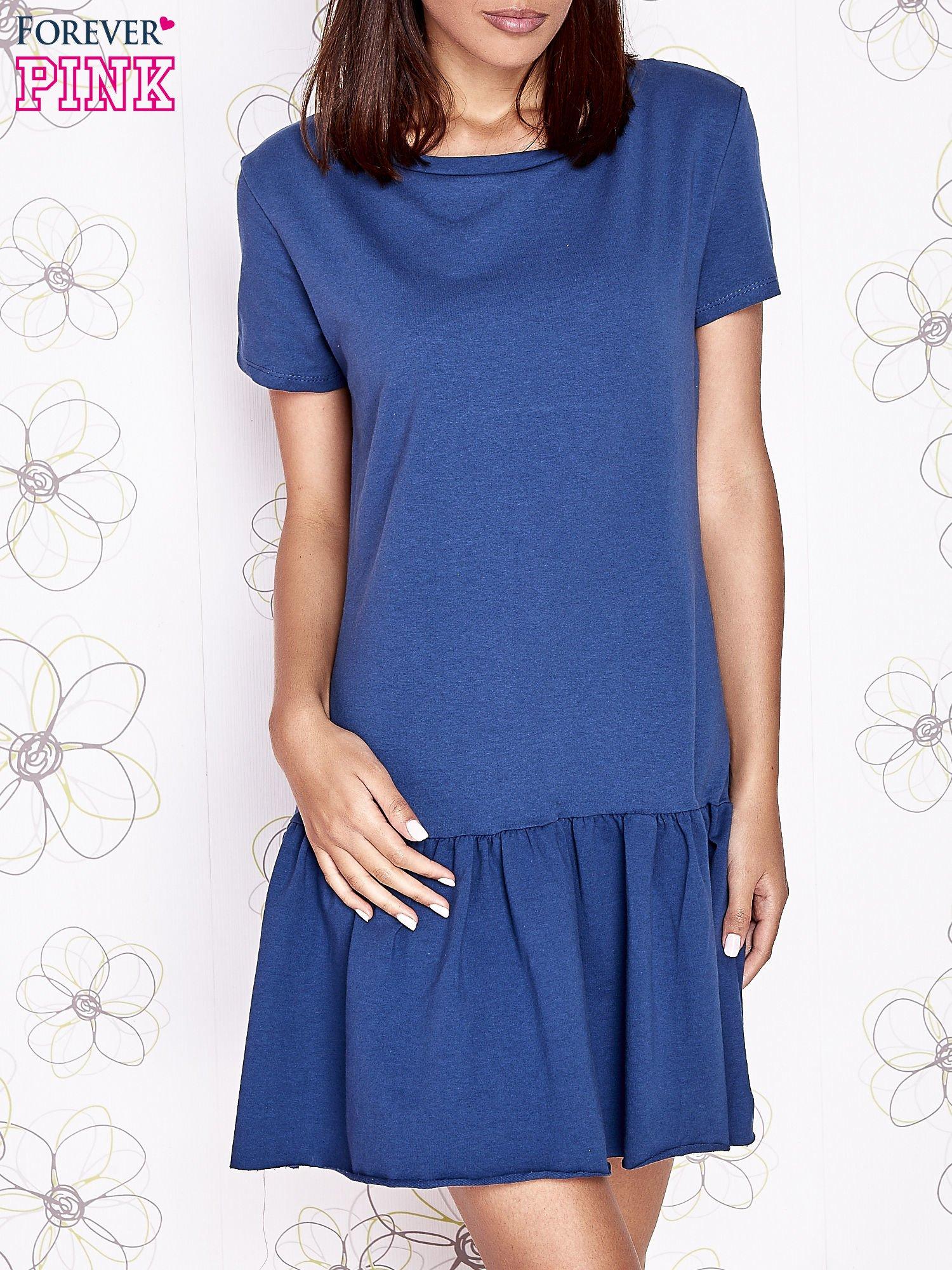 Ciemnoniebieska dresowa sukienka z wycięciem na plecach                                   zdj.                                  1