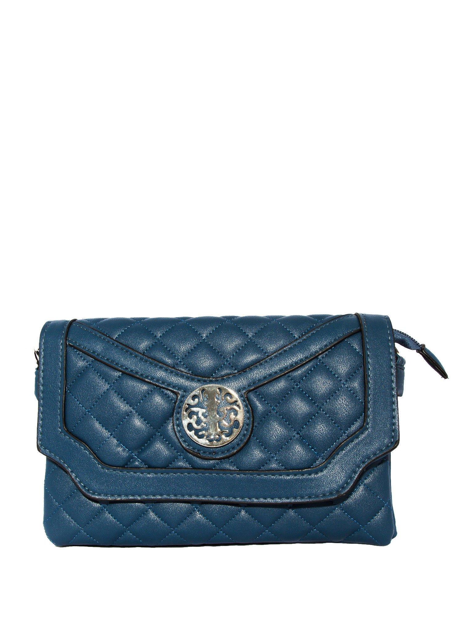 Ciemnoniebieska pikowana torba typu listonoszka                                  zdj.                                  1
