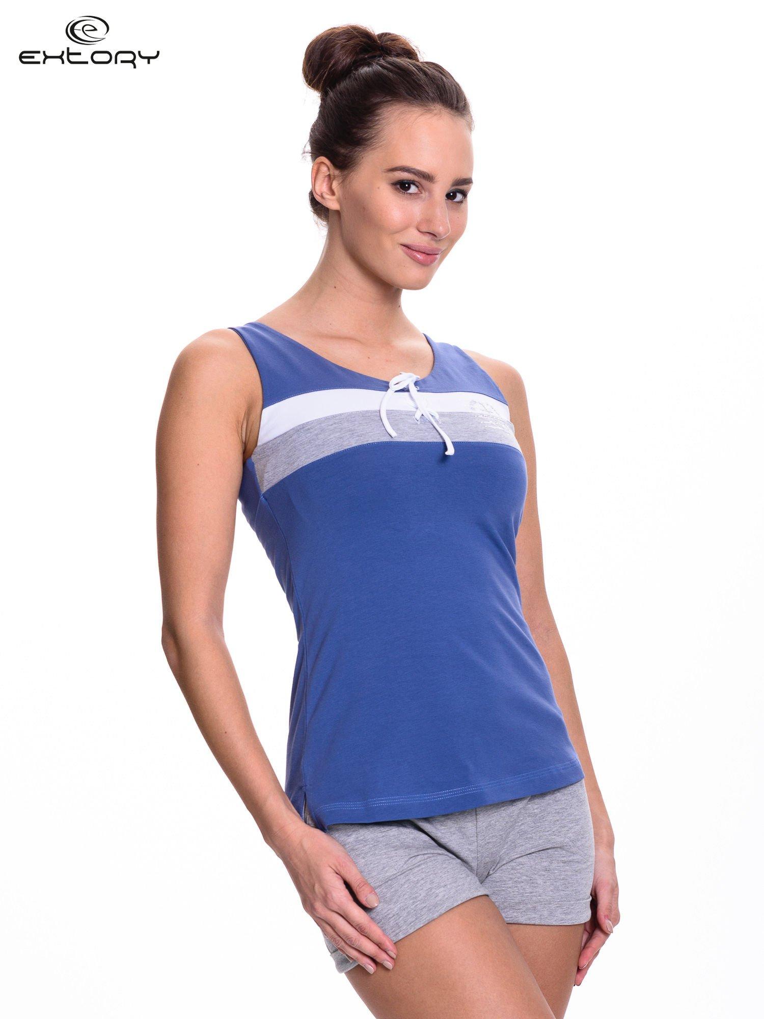 Ciemnoniebieski top sportowy z wiązaniem w stylu marynarskim                                  zdj.                                  3
