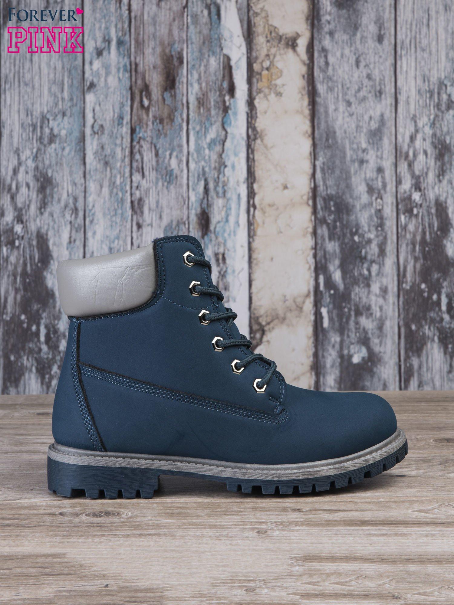 38ea32400d49d Ciemnoniebieskie buty trekkingowe Amina damskie traperki ocieplane ...