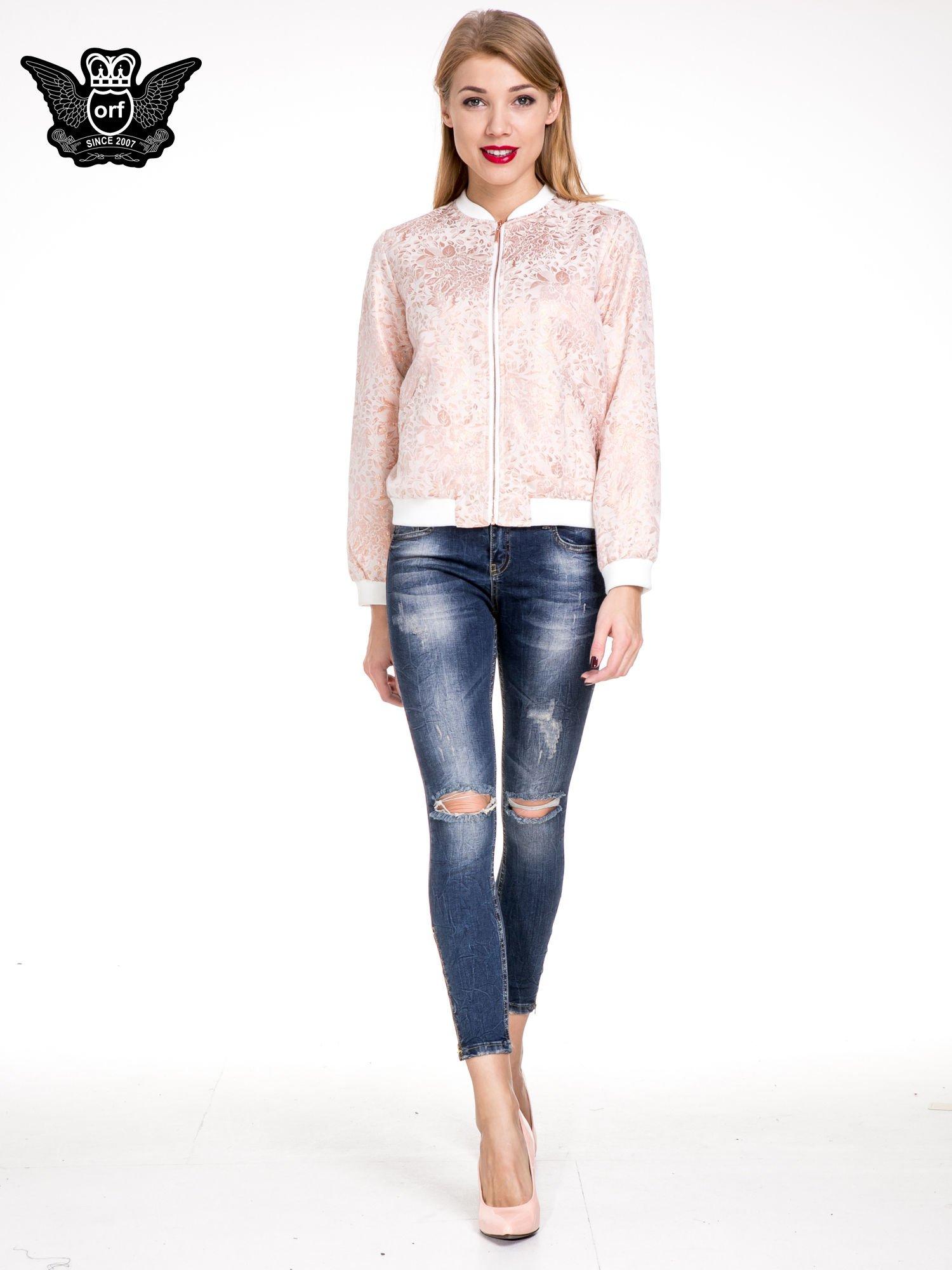 Ciemnoniebieskie spodnie skinny jeans z dziurami i zamkami                                  zdj.                                  2
