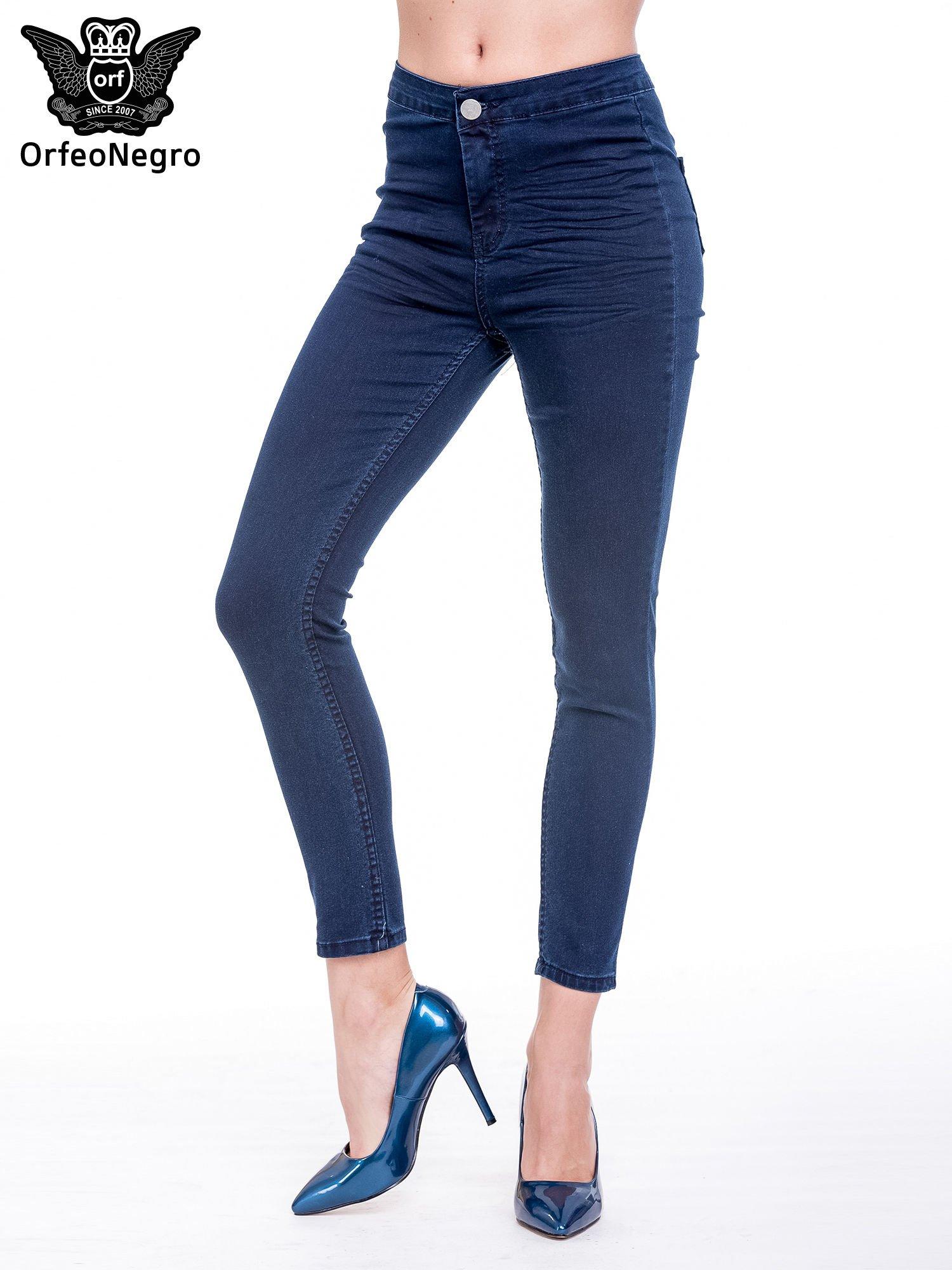 e87dcb1f Ciemnoniebieskie spodnie skinny jeans z wysokim stanem