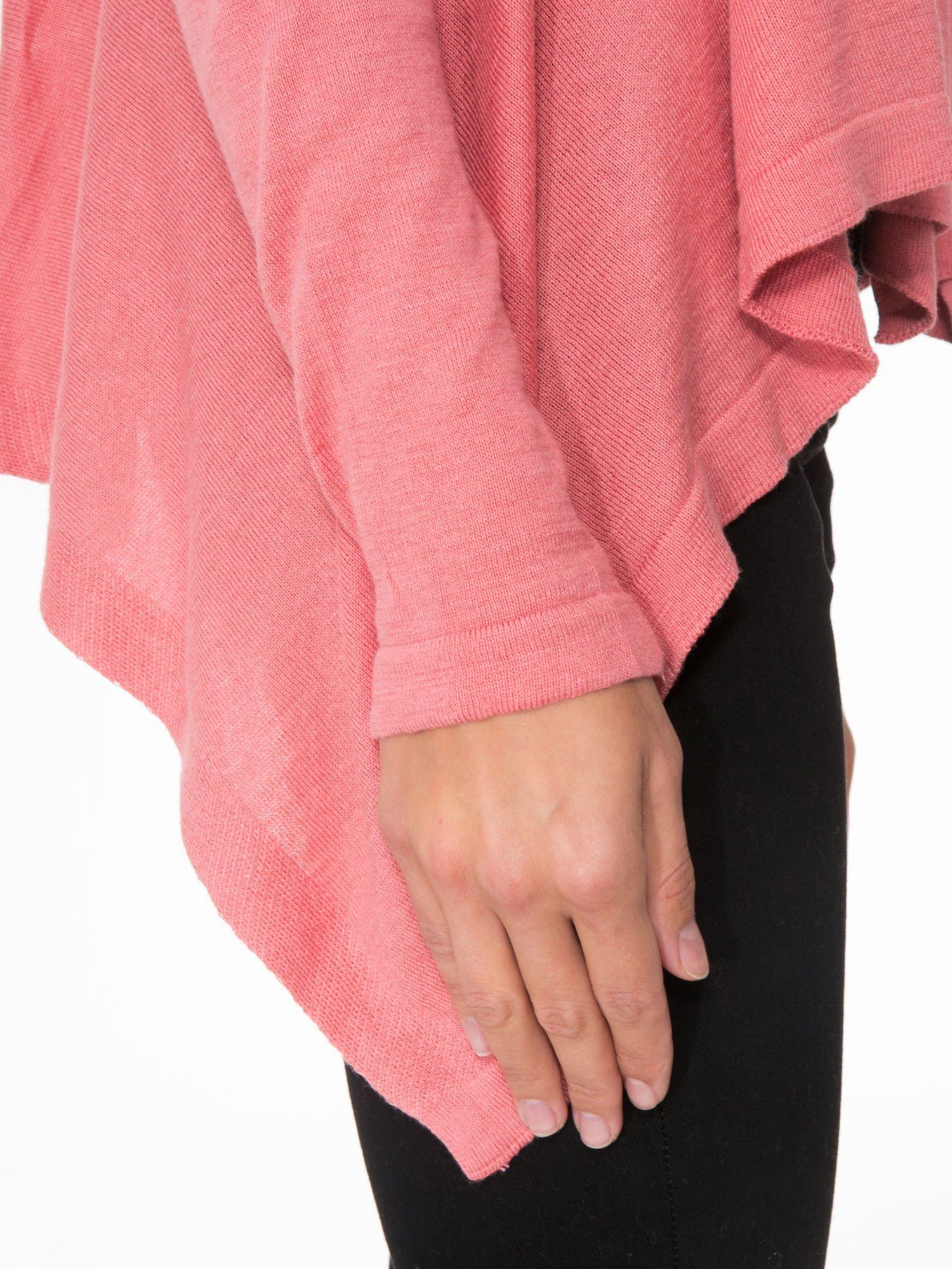 Ciemnoróżowy otwarty sweter z kaskadowymi bokami                                  zdj.                                  6