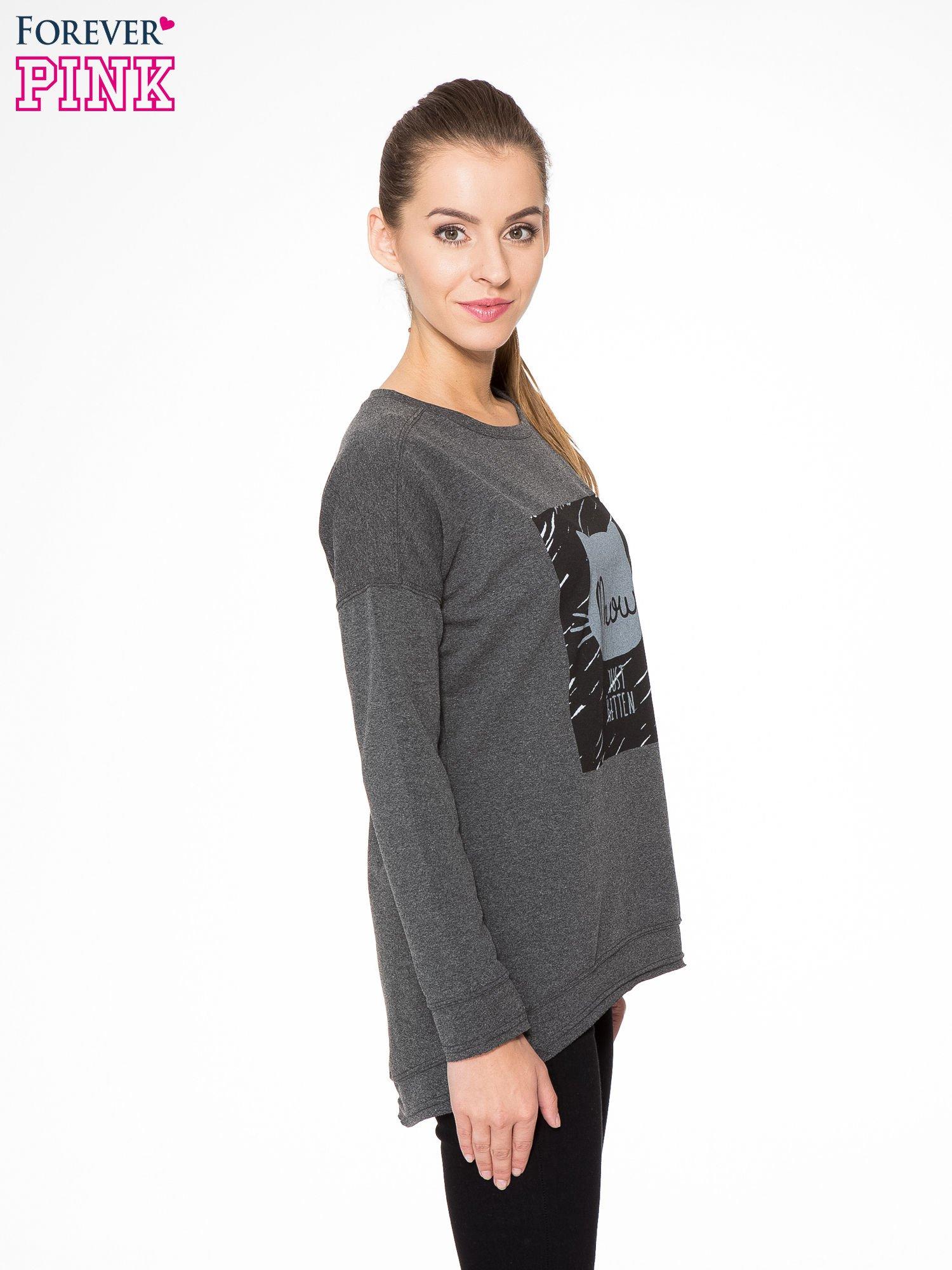 Ciemnoszara bluza z nadrukiem MEOW                                  zdj.                                  3