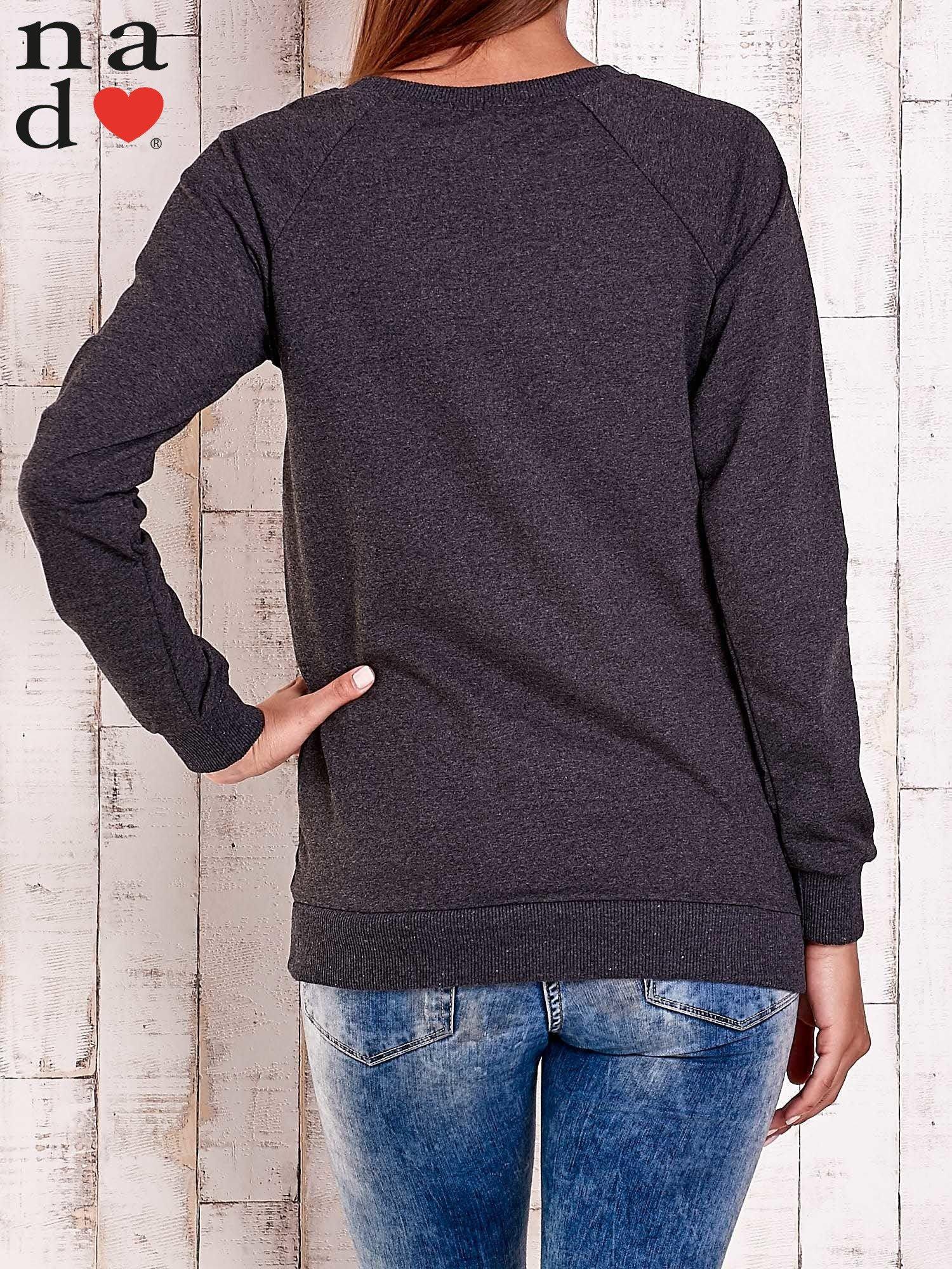 Ciemnoszara bluza z napisem LOVELY                                  zdj.                                  5