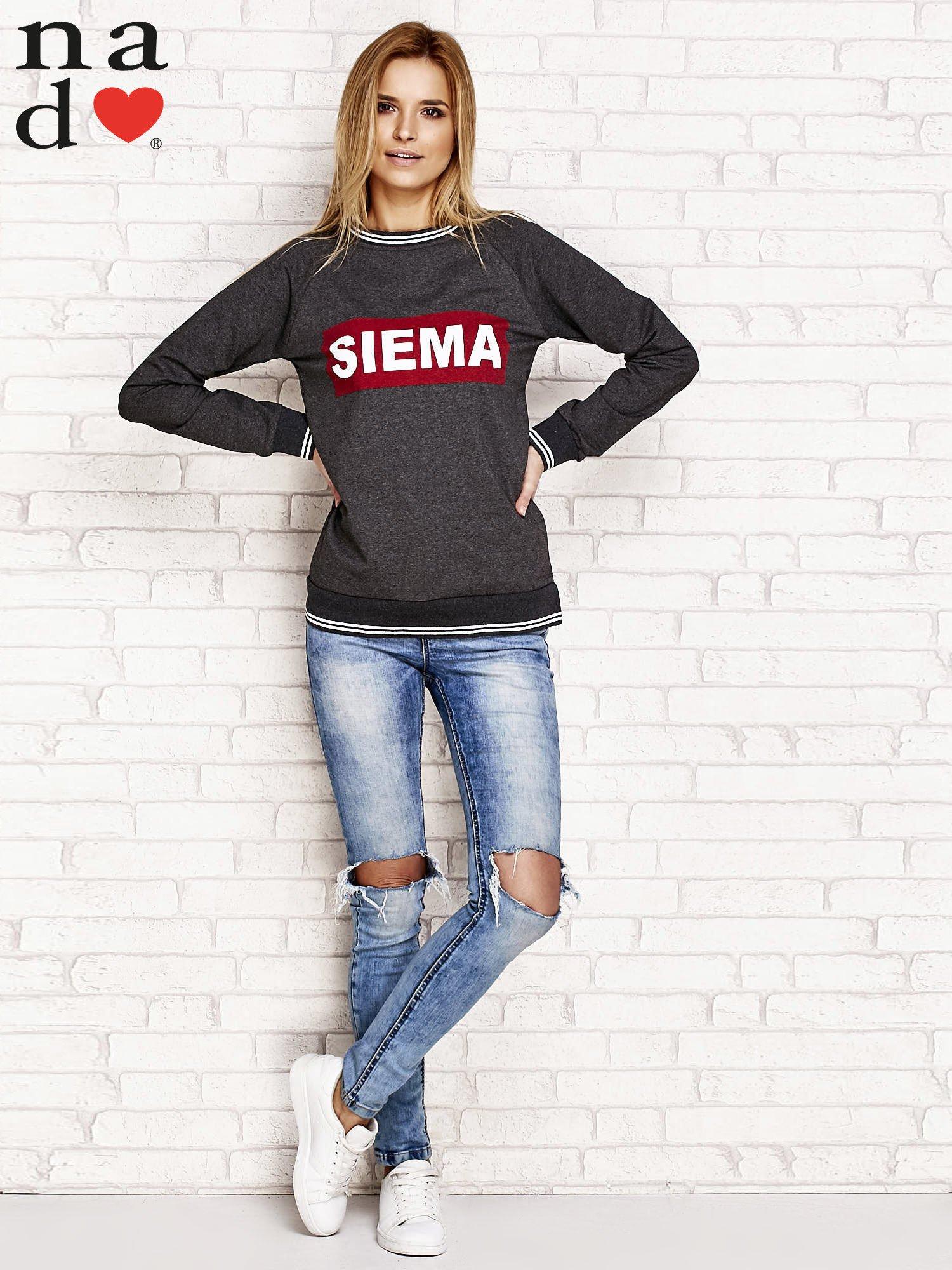 Ciemnoszara bluza z napisem SIEMA                                  zdj.                                  4
