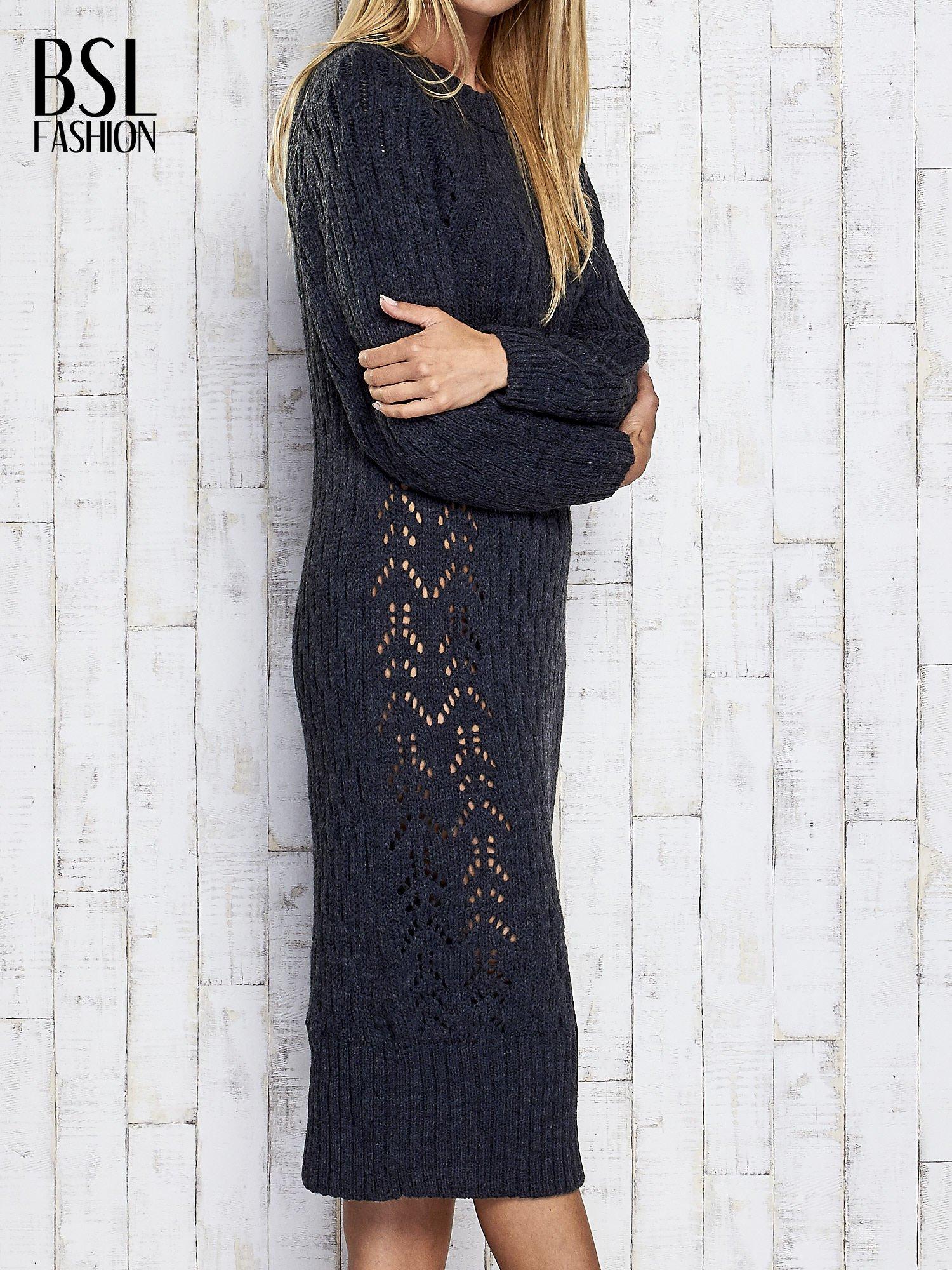 Ciemnoszara swetrowa sukienka midi                                  zdj.                                  4