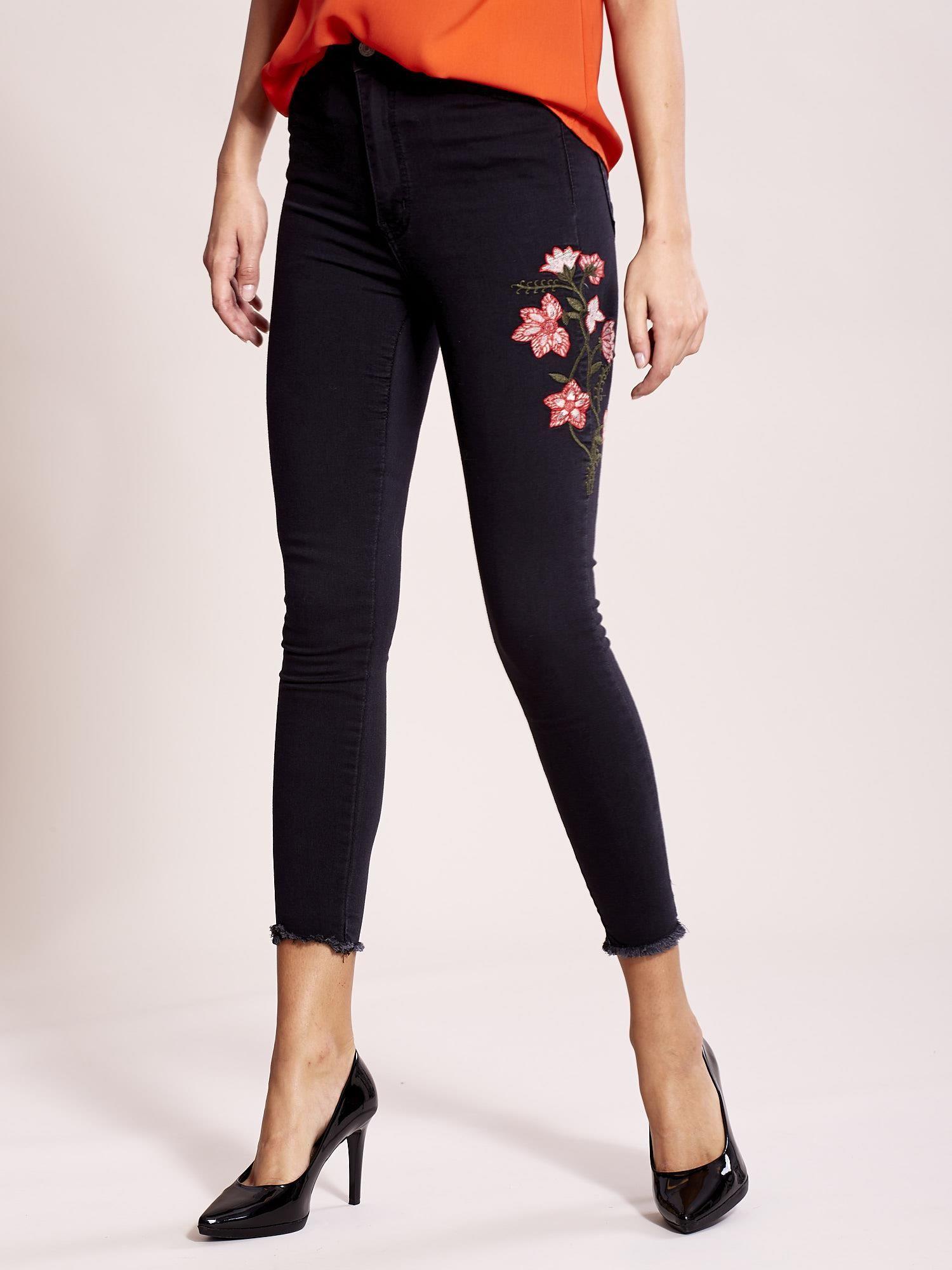 Zupełnie nowe Ciemnoszare jeansy z kwiatami - Spodnie jeansowe - sklep eButik.pl KN05