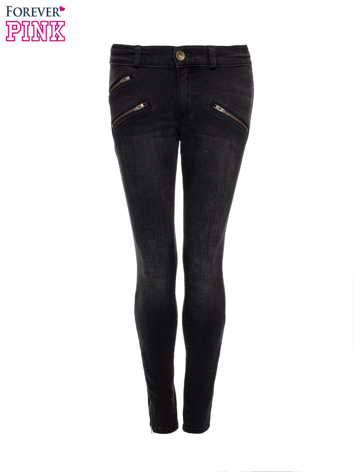 Ciemnoszare spodnie jeansowe typu skinny z suwakami na górze i przy nogawkach                                  zdj.                                  4