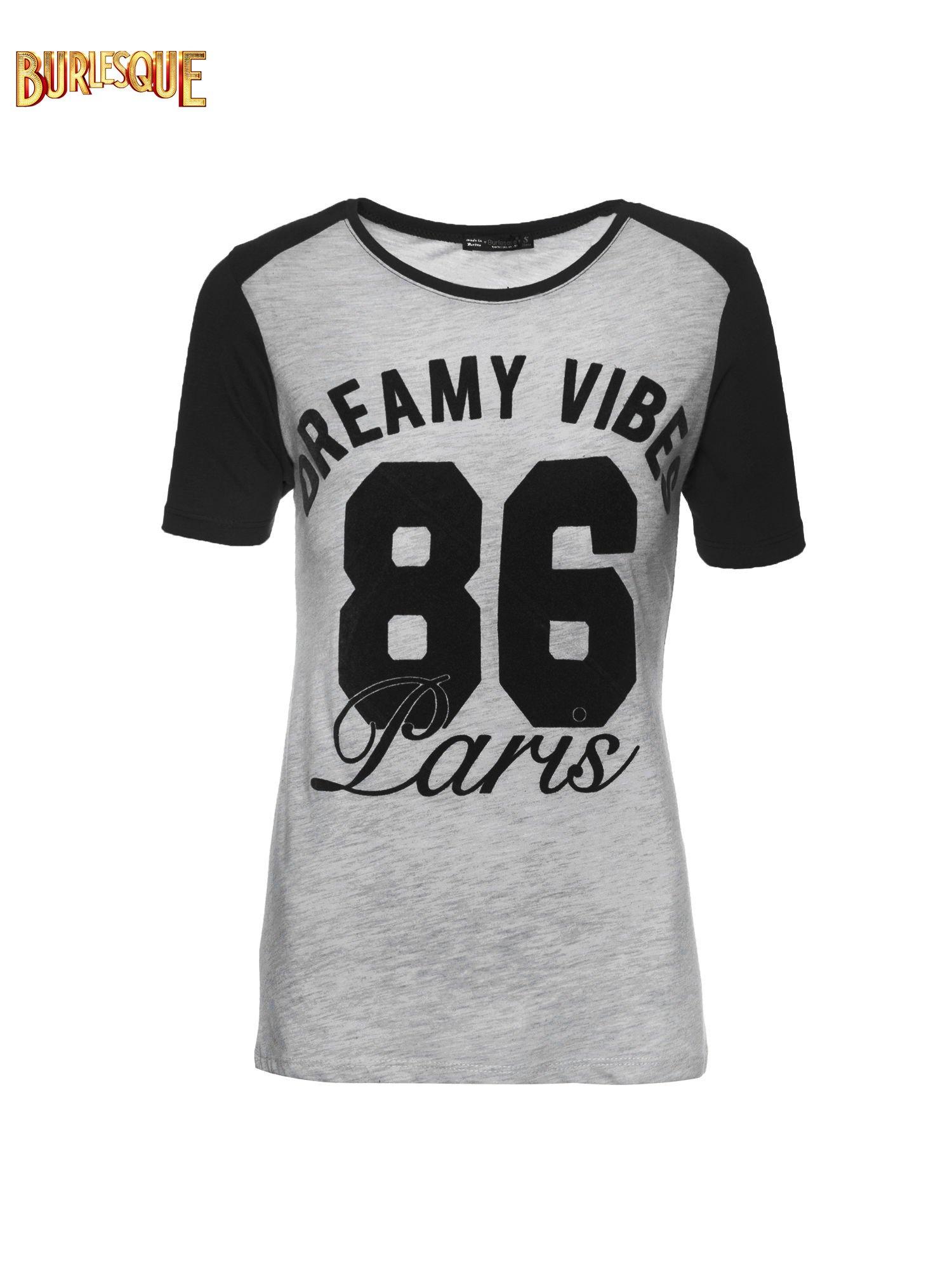 Ciemnoszaro-czarny t-shirt z napisem DREAMY VIBES 86 PARIS                                  zdj.                                  6