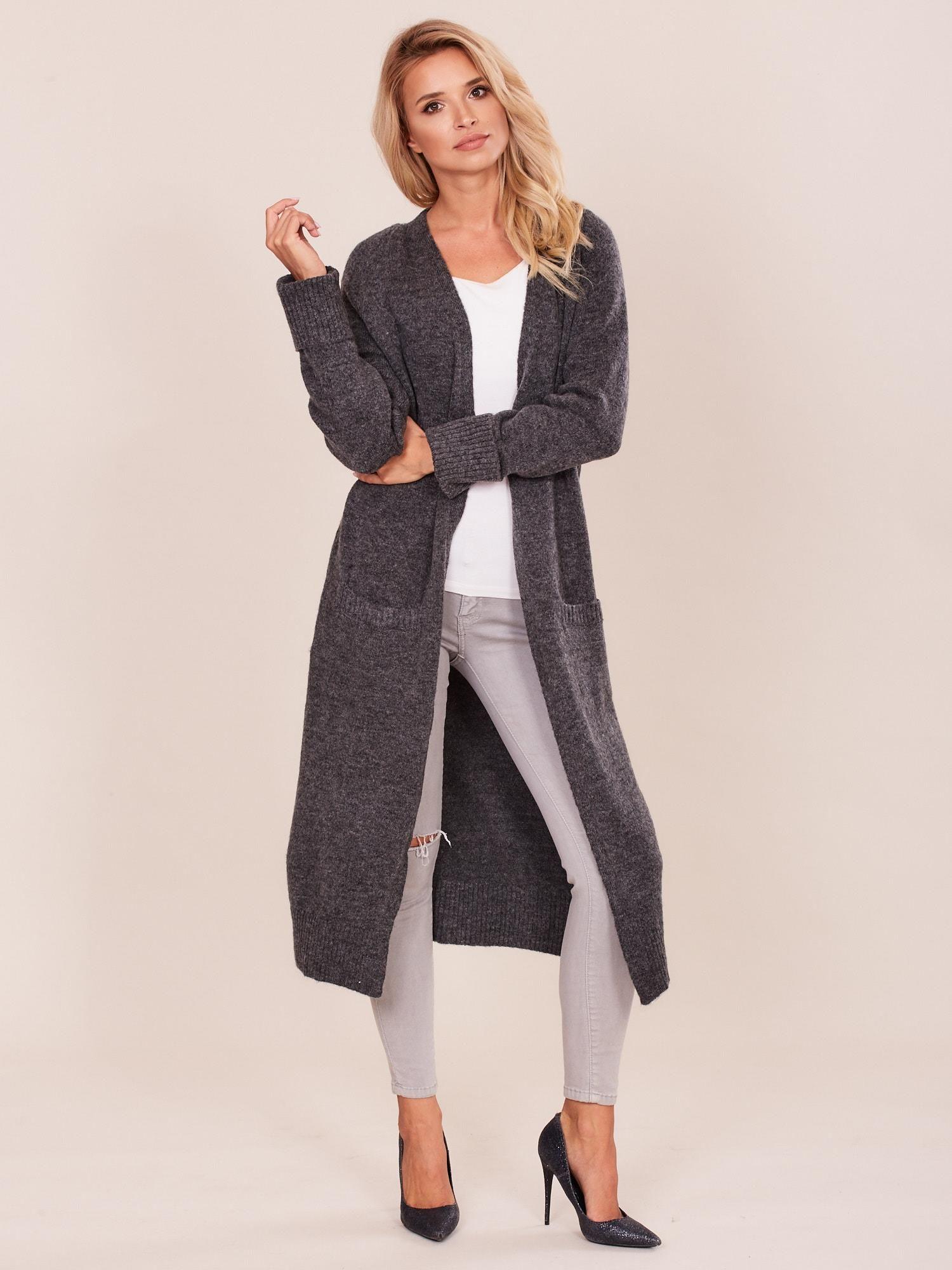 927e4f01 Ciemnoszary długi sweter damski
