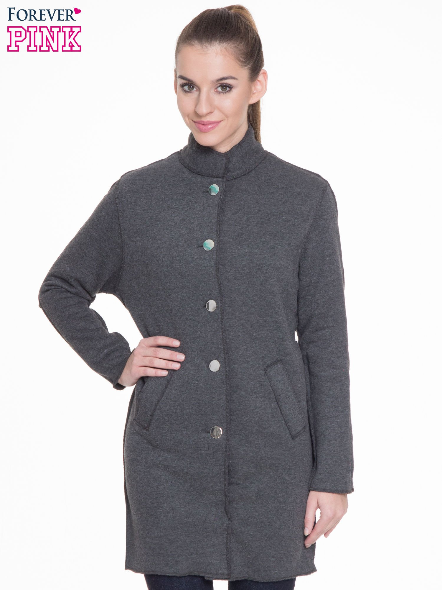 Ciemnoszary dresowy płaszcz o kroju oversize                                  zdj.                                  1