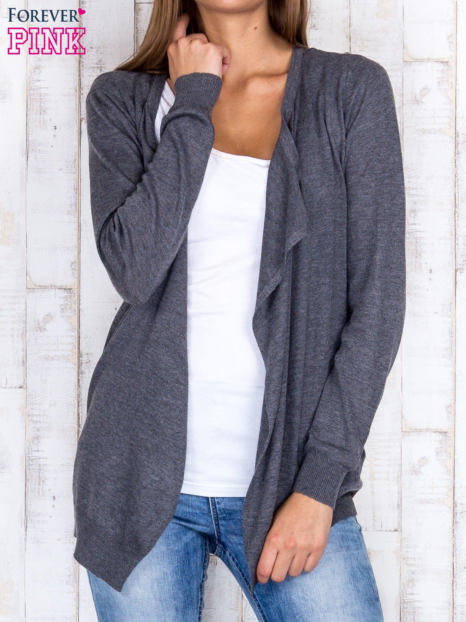 Ciemnoszary niezapinany sweter z melanżowym efektem                                  zdj.                                  1