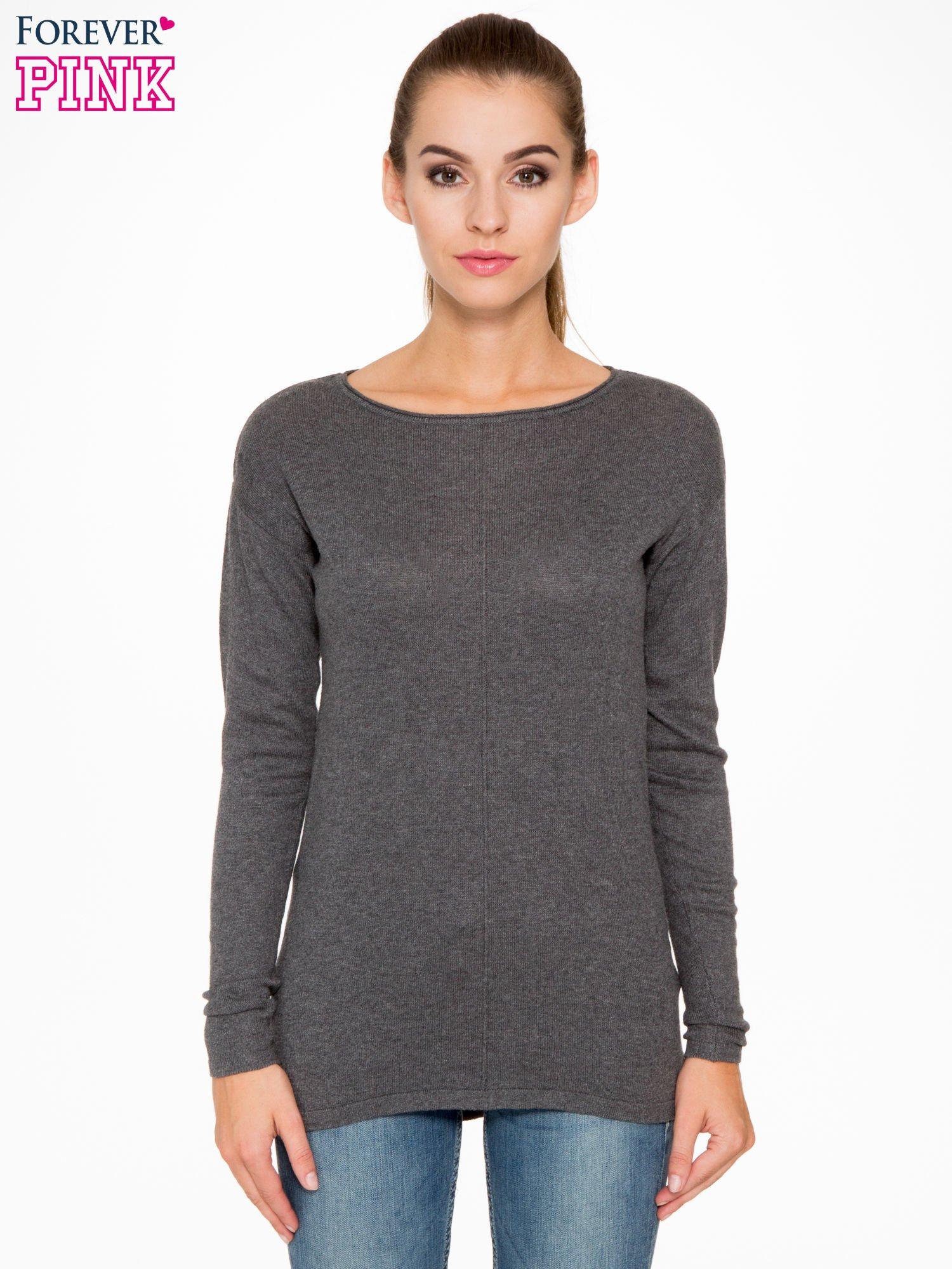 Ciemnoszary sweter z dłuższym tyłem i rozporkami po bokach                                  zdj.                                  1