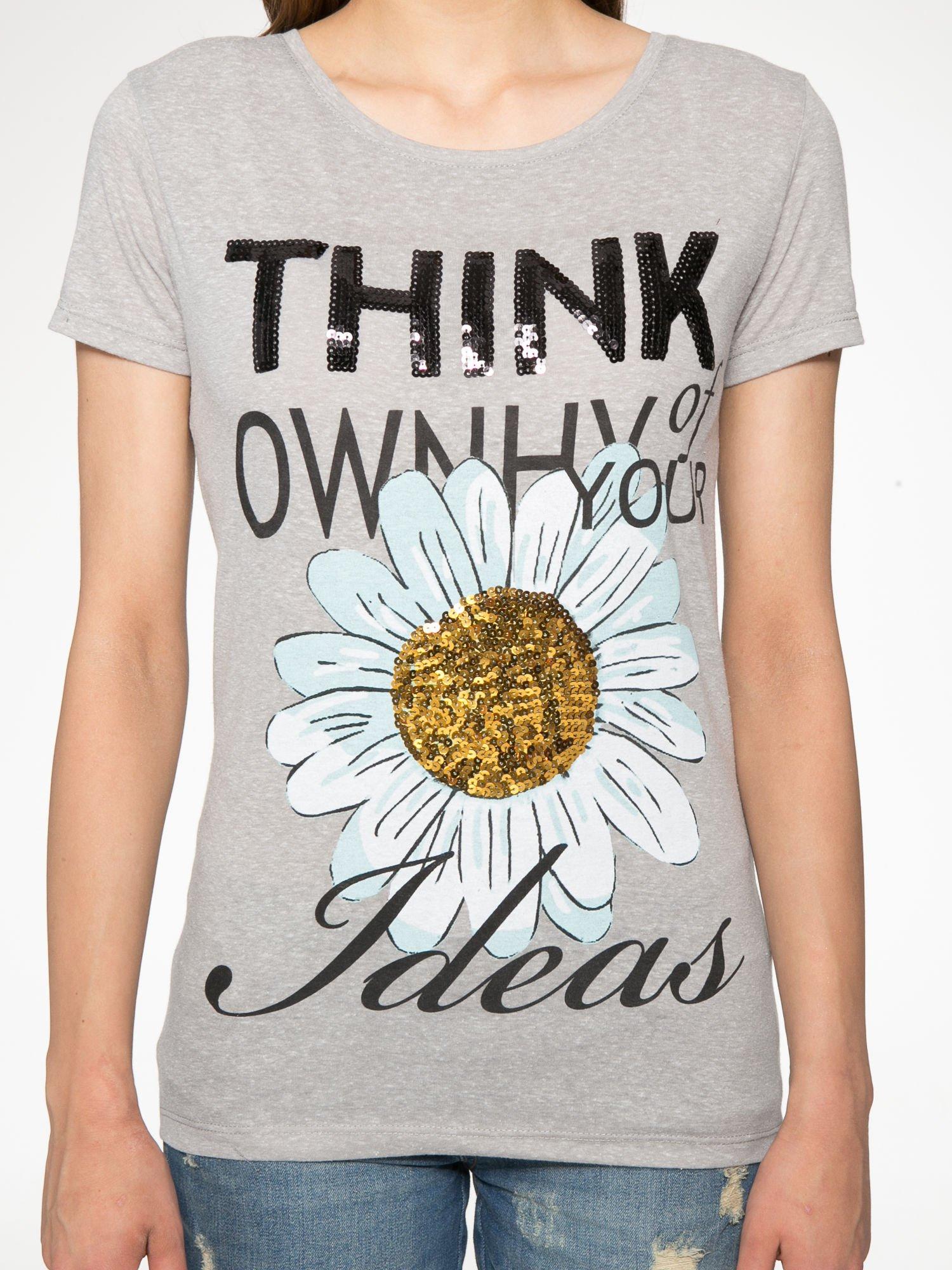 Ciemnoszary t-shirt z nadrukiem stokrotki z dżetami                                  zdj.                                  7