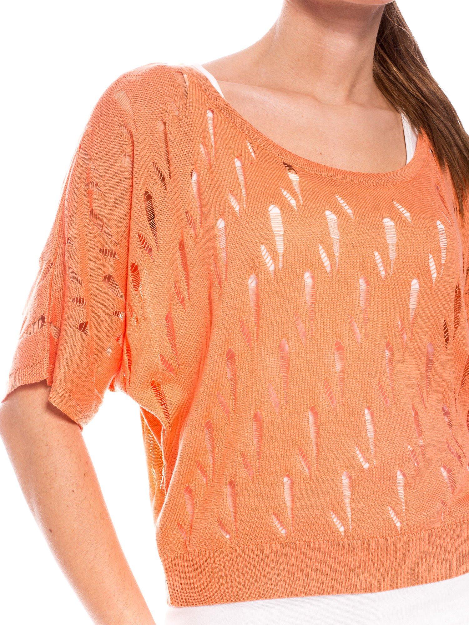 Ciemnożółty krótki ażurowy sweterek                                  zdj.                                  5