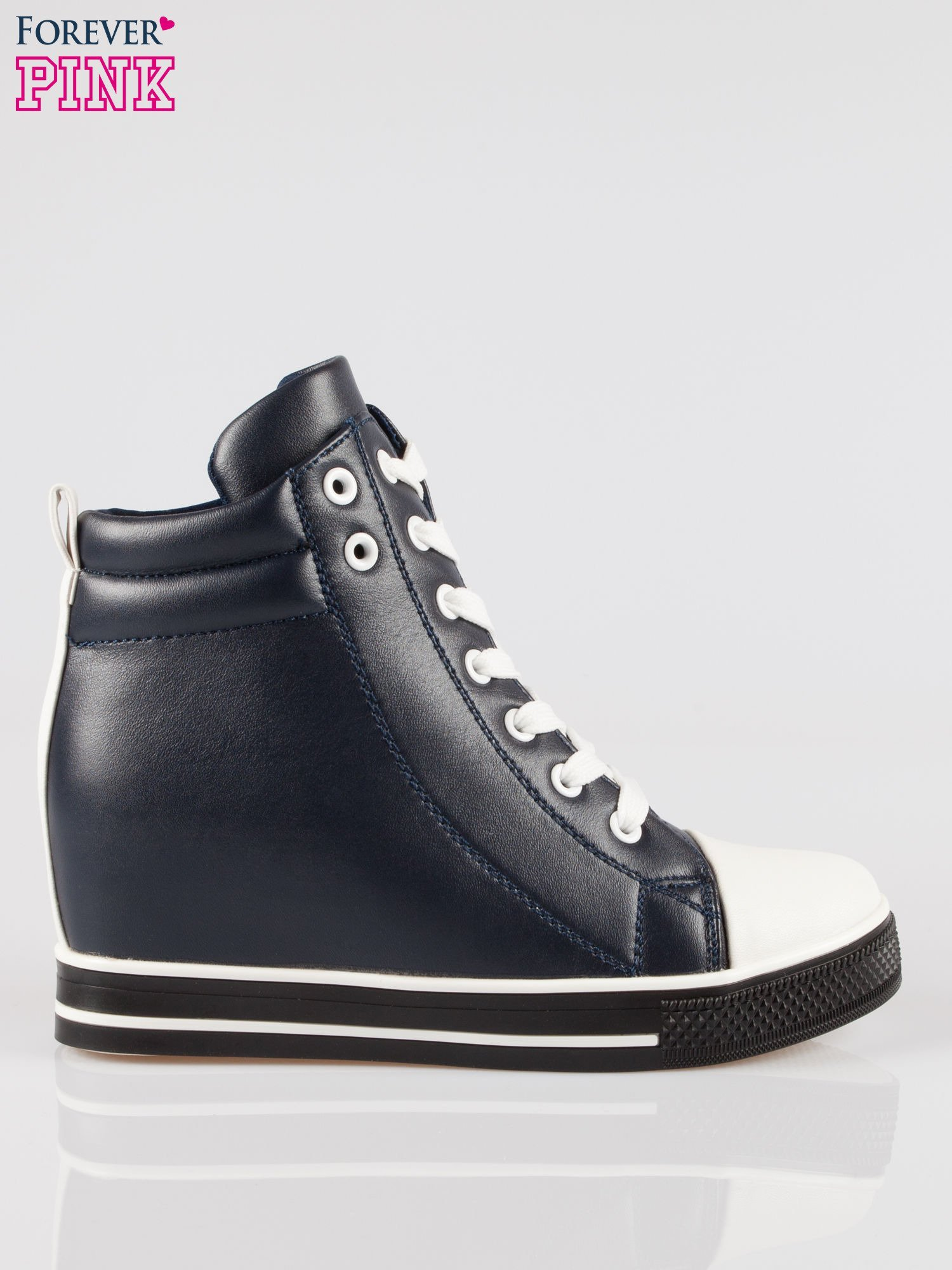 Cienoniebieskie sneakersy trampki cap toe na koturnie                                  zdj.                                  1