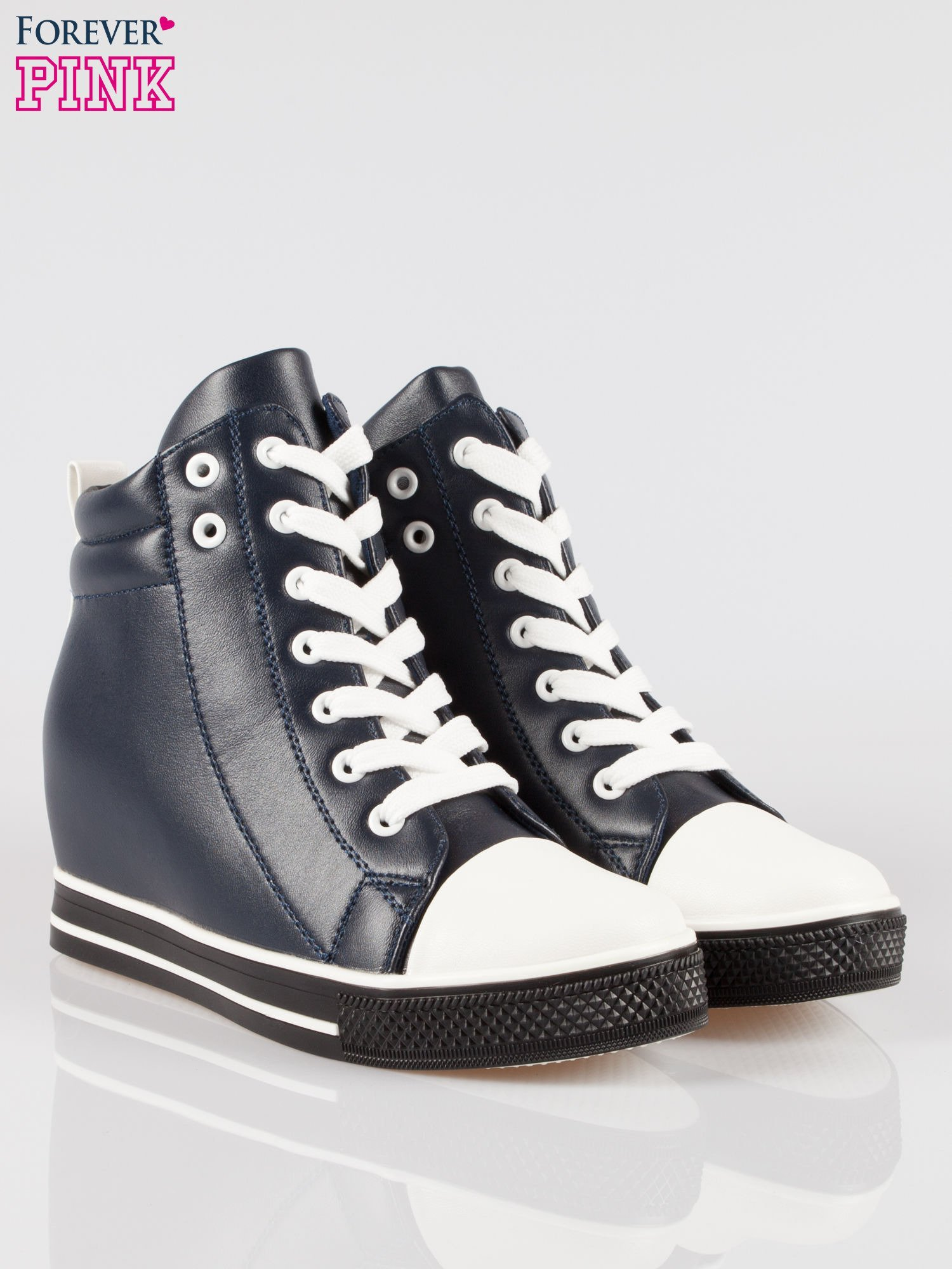 Cienoniebieskie sneakersy trampki cap toe na koturnie                                  zdj.                                  2