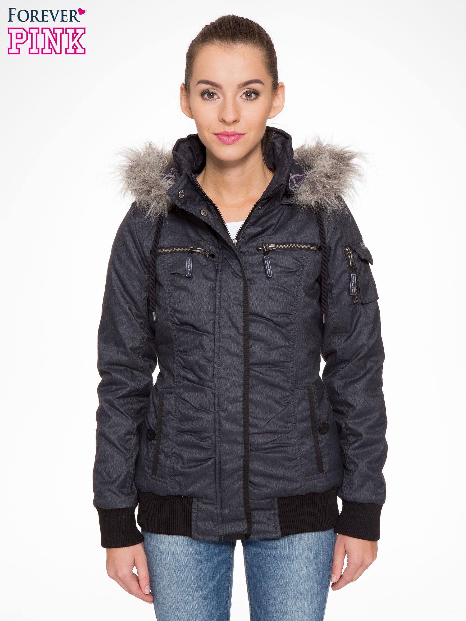 Ciepła kurtka zimowa z kapturem wykończonym futerkiem                                  zdj.                                  1