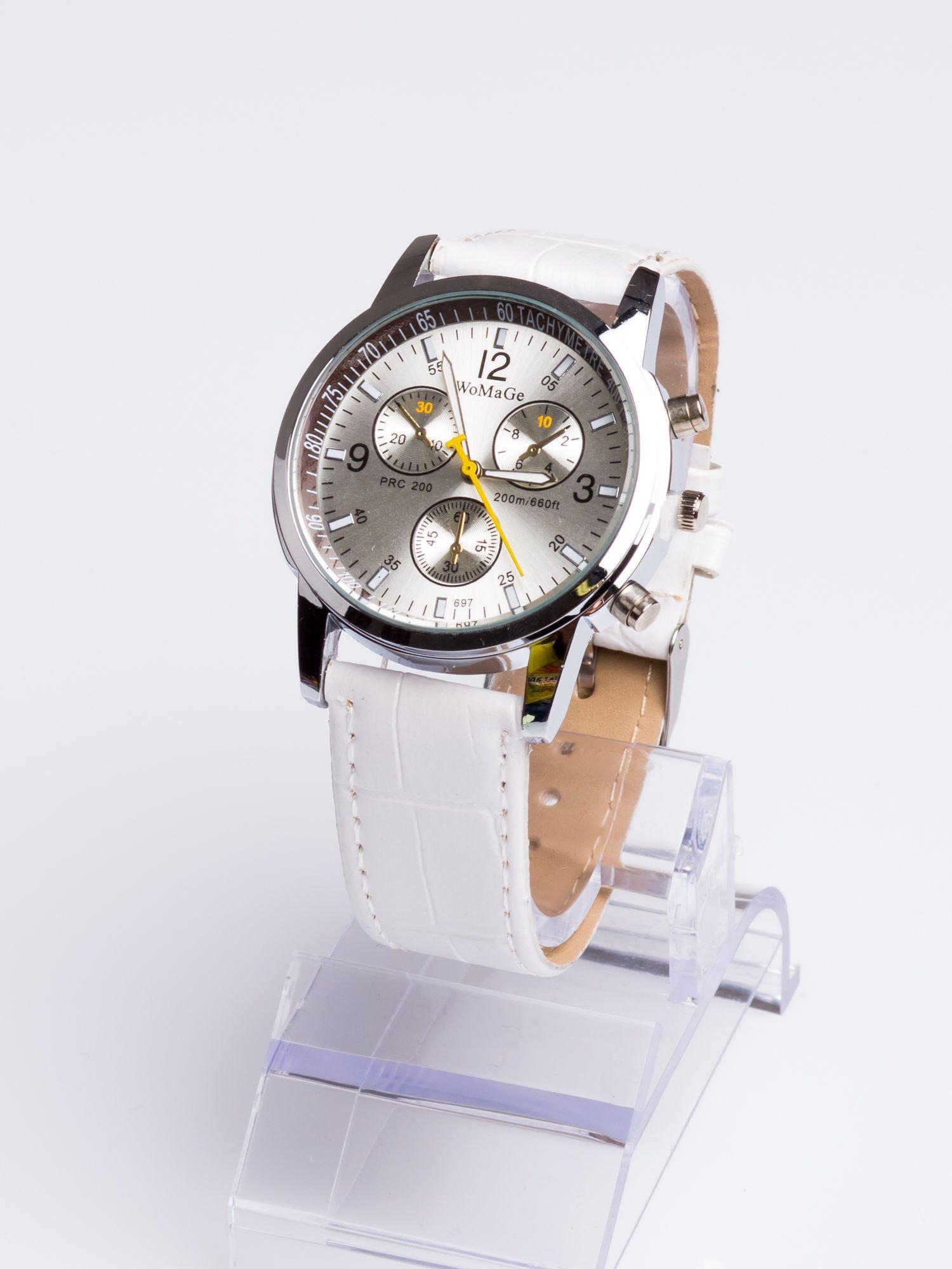 Cudny biały zegarek damski z ozdobnym tachometrem                                  zdj.                                  2