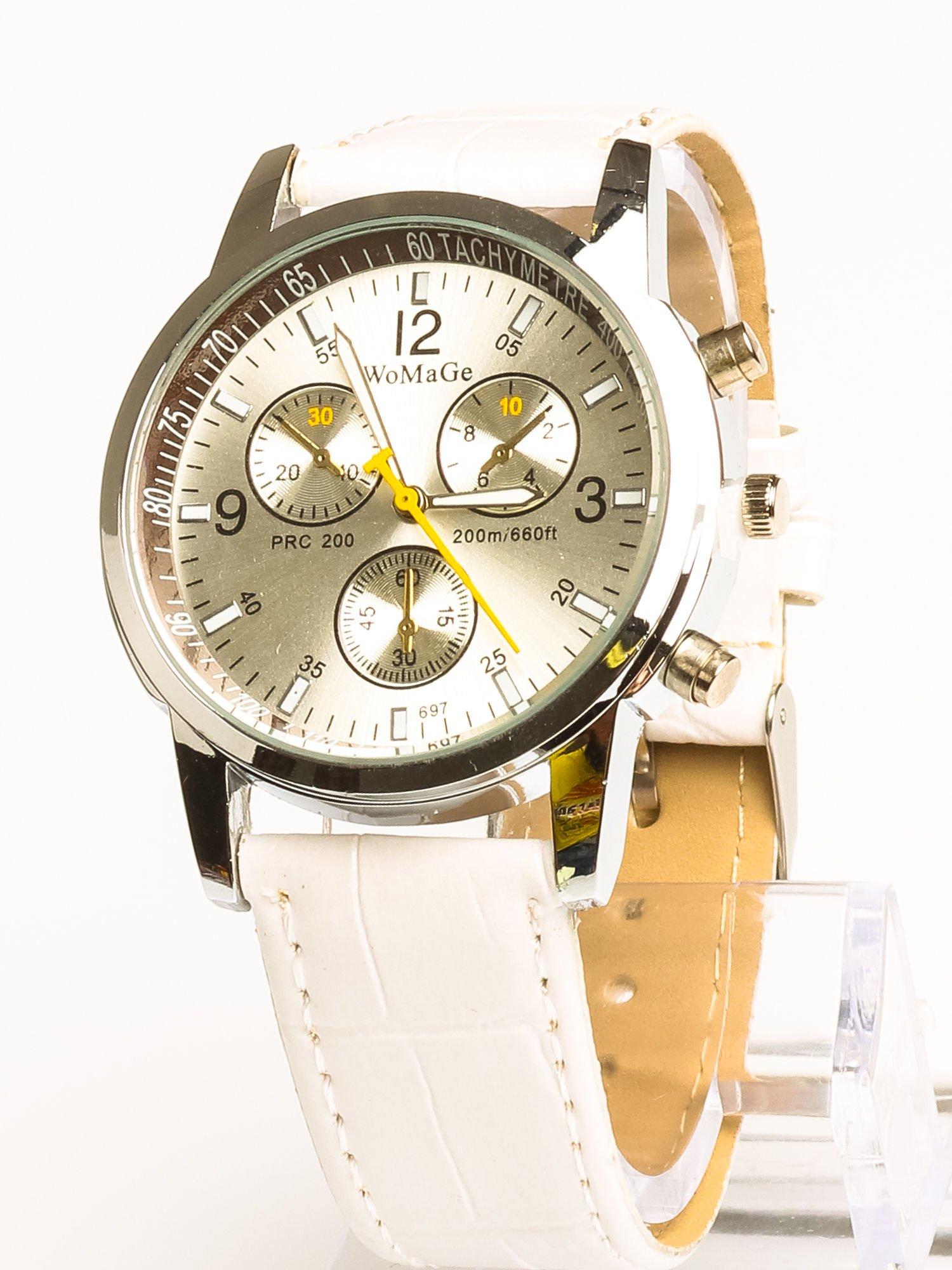 Cudny biały zegarek damski z ozdobnym tachometrem                                  zdj.                                  1
