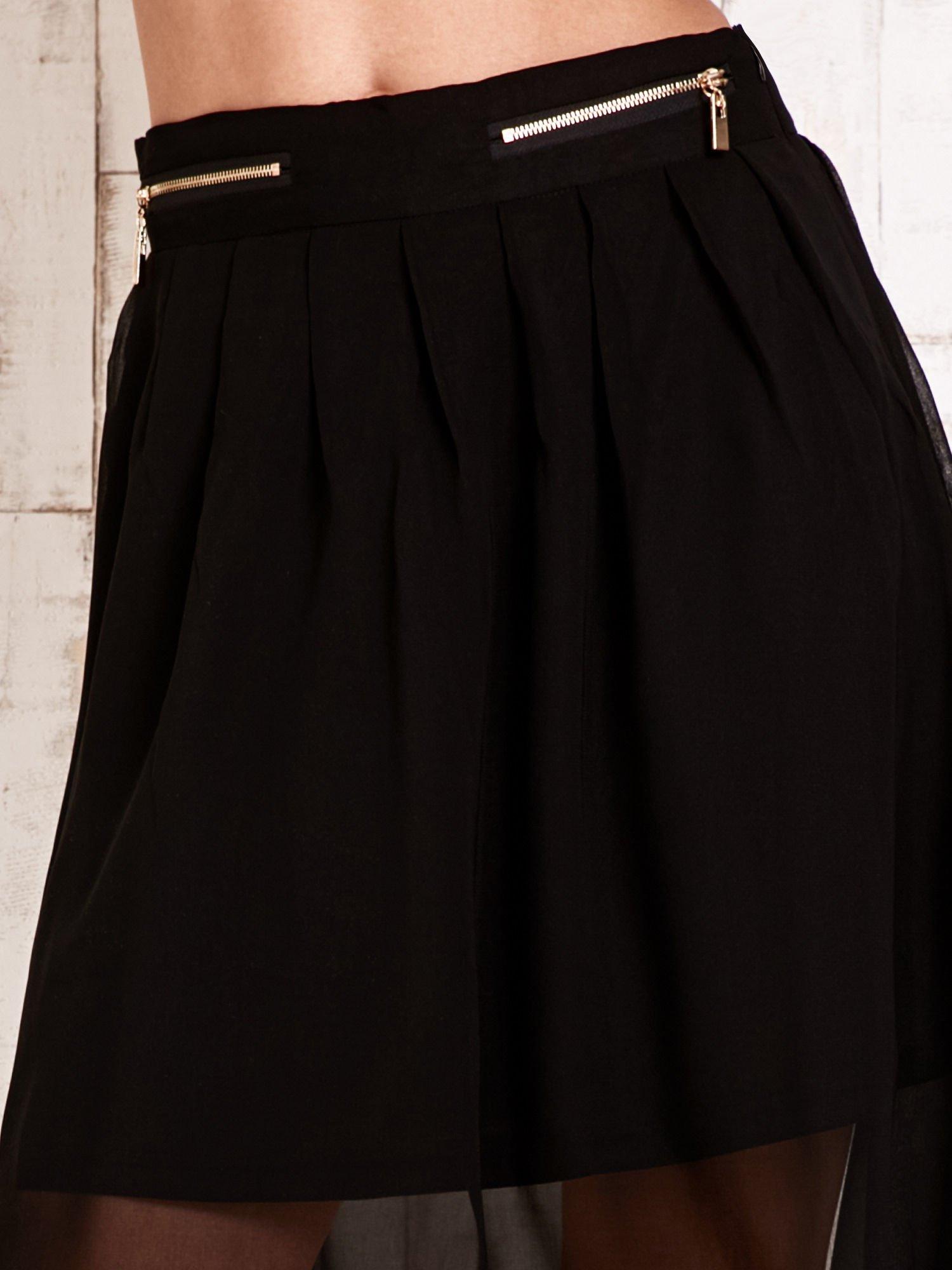 Czarna asymetryczna spódnica z suwakami                                  zdj.                                  4