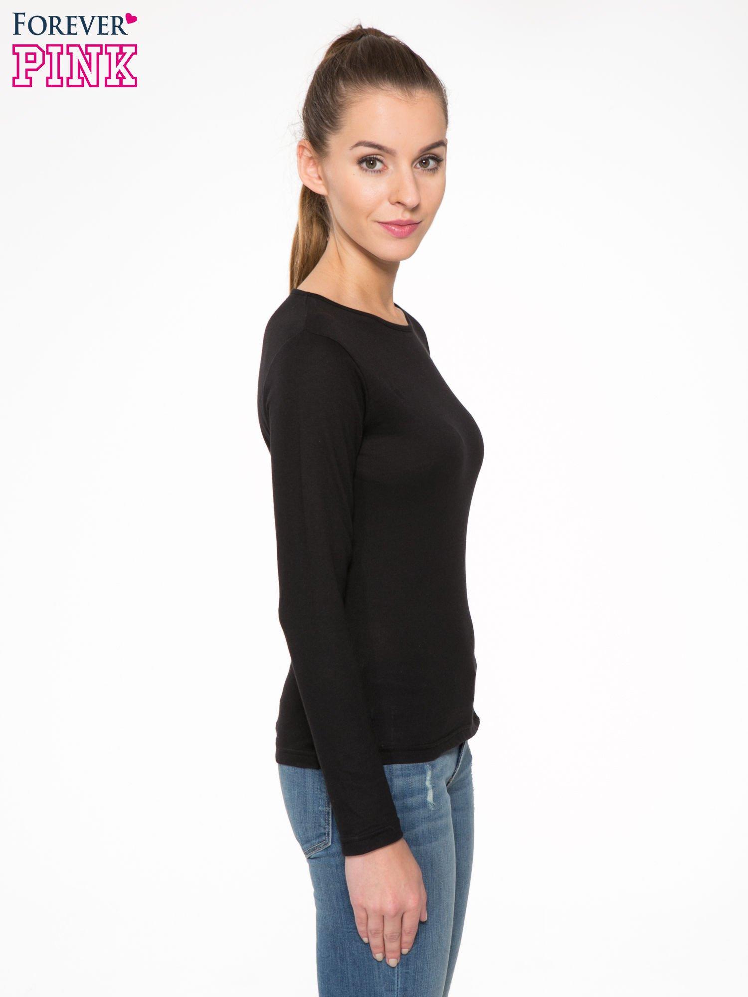 Czarna bawełniana bluzka typu basic z długim rękawem                                  zdj.                                  3