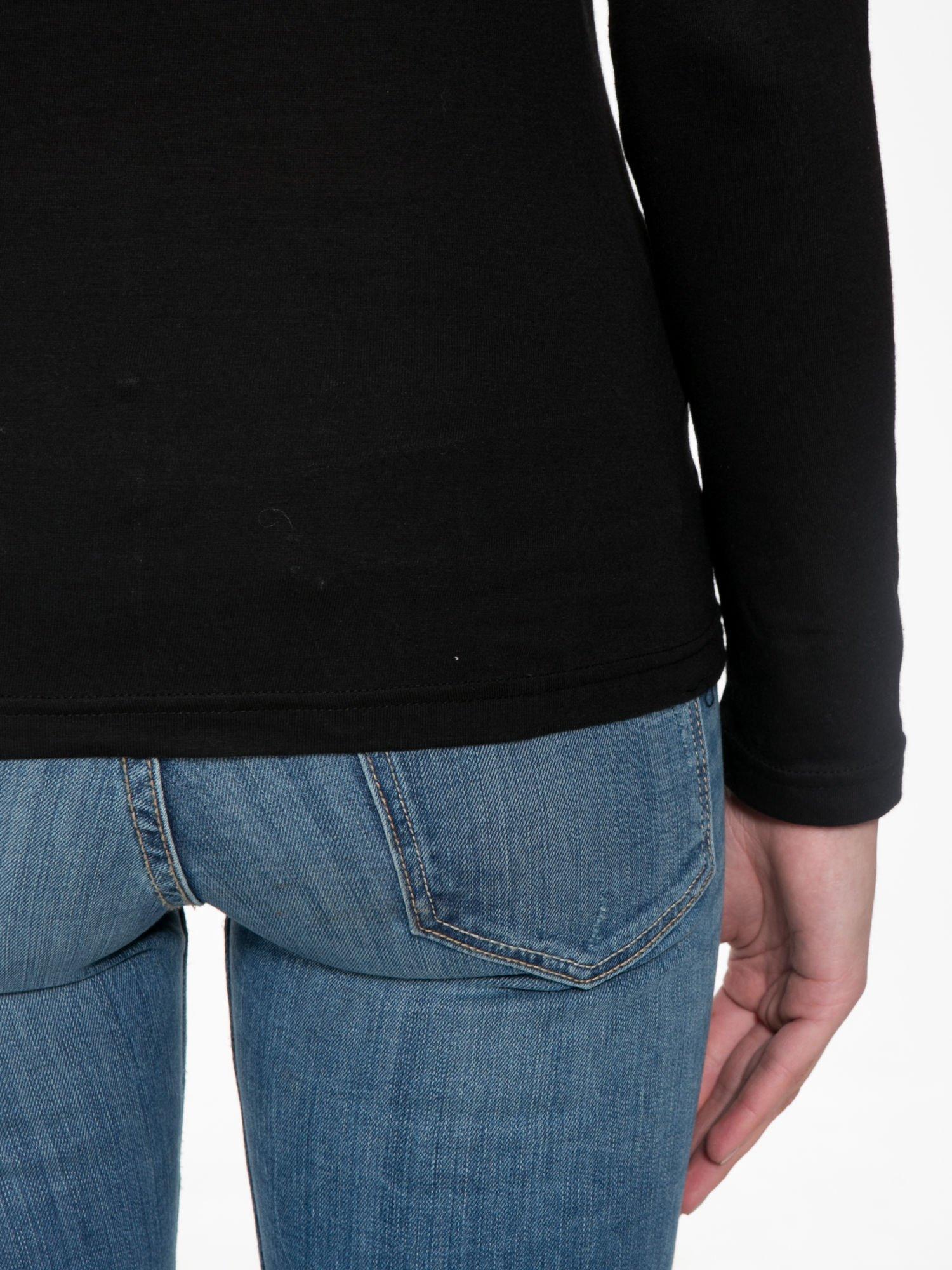 Czarna bawełniana bluzka typu basic z długim rękawem                                  zdj.                                  8