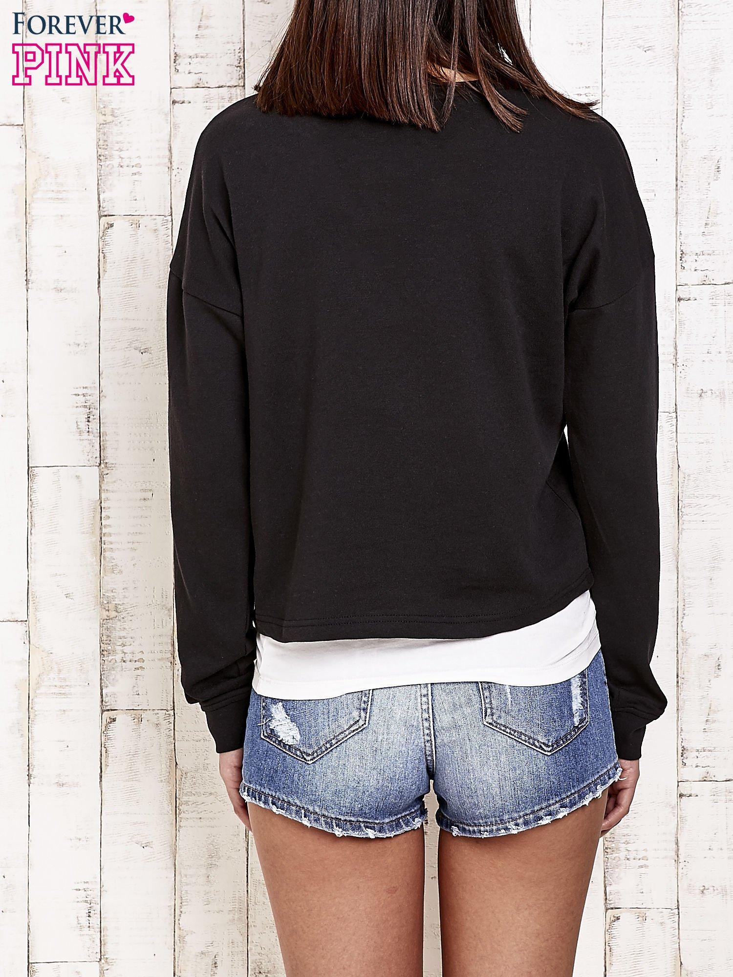 Czarna bluza dresowa z asymetrycznym suwakiem                                  zdj.                                  2