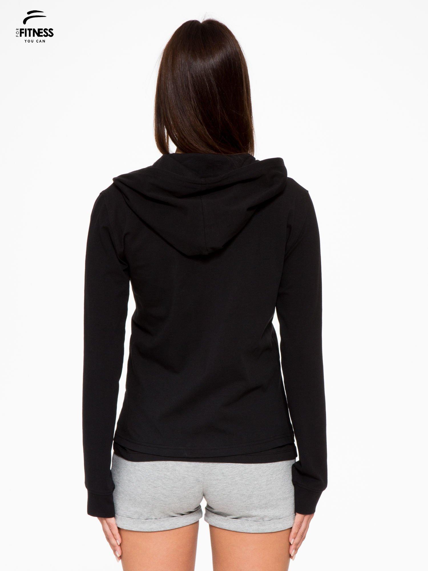 Czarna bluza dresowa z asymetrycznym suwakiem i kapturem                                  zdj.                                  4