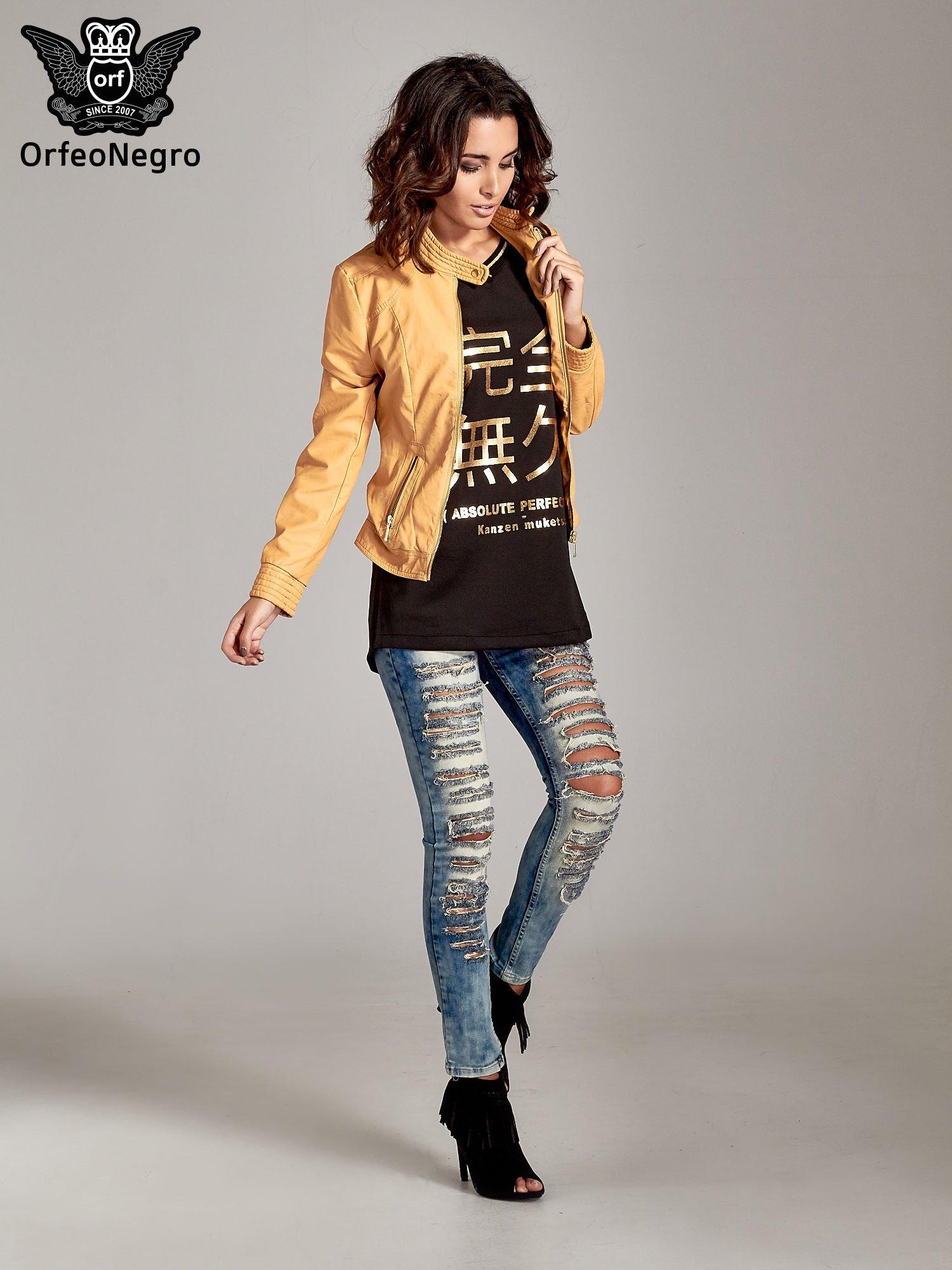 Czarna bluza glamour ze złotymi znakami japońskimi                                  zdj.                                  4