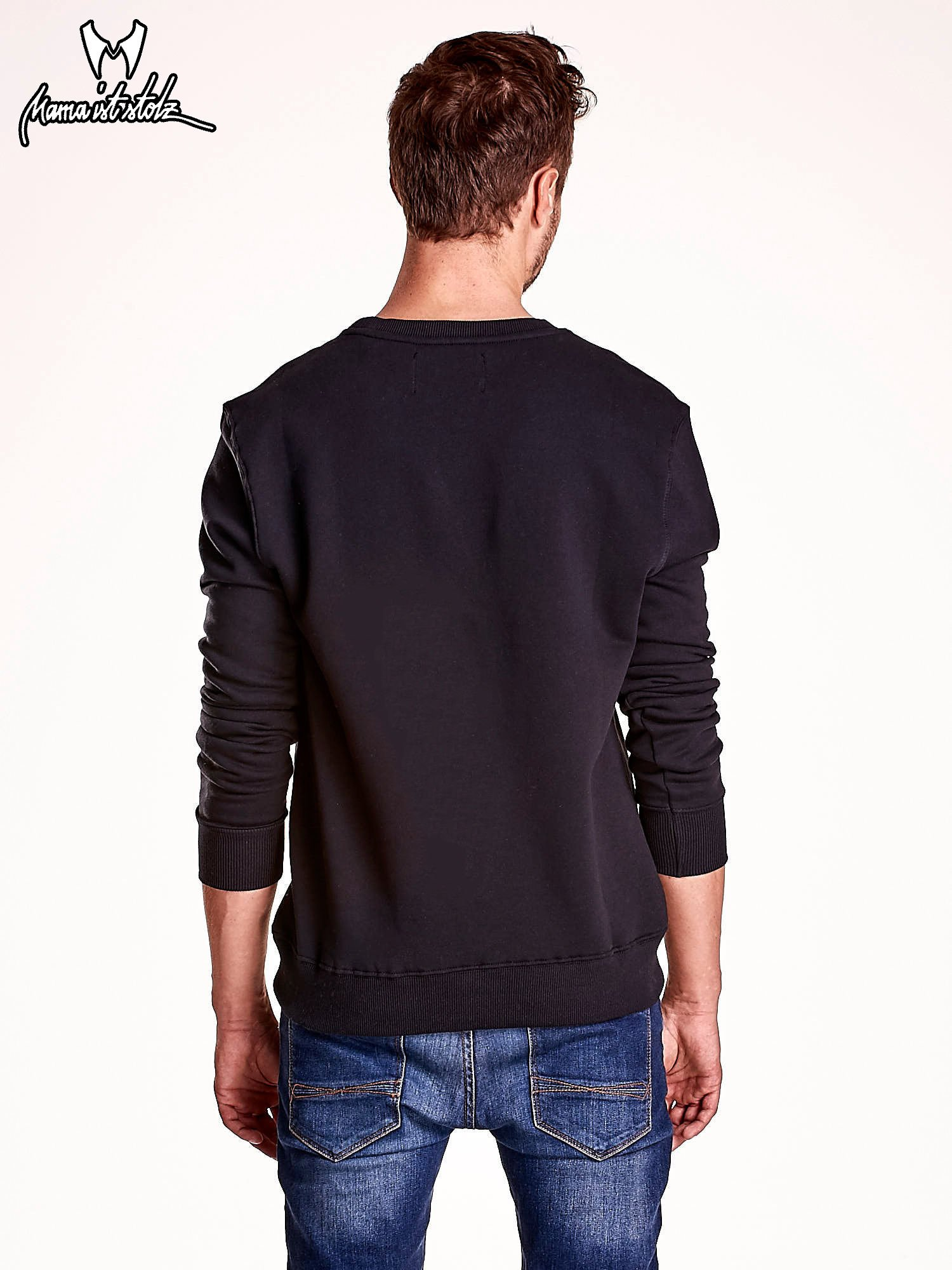Czarna bluza męska z tekstowymi naszywkami                                  zdj.                                  5