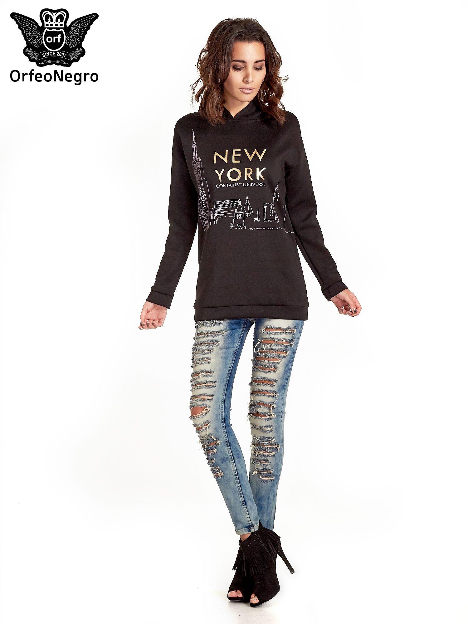 Czarna bluza z nadrukiem NEW YORK                                  zdj.                                  2
