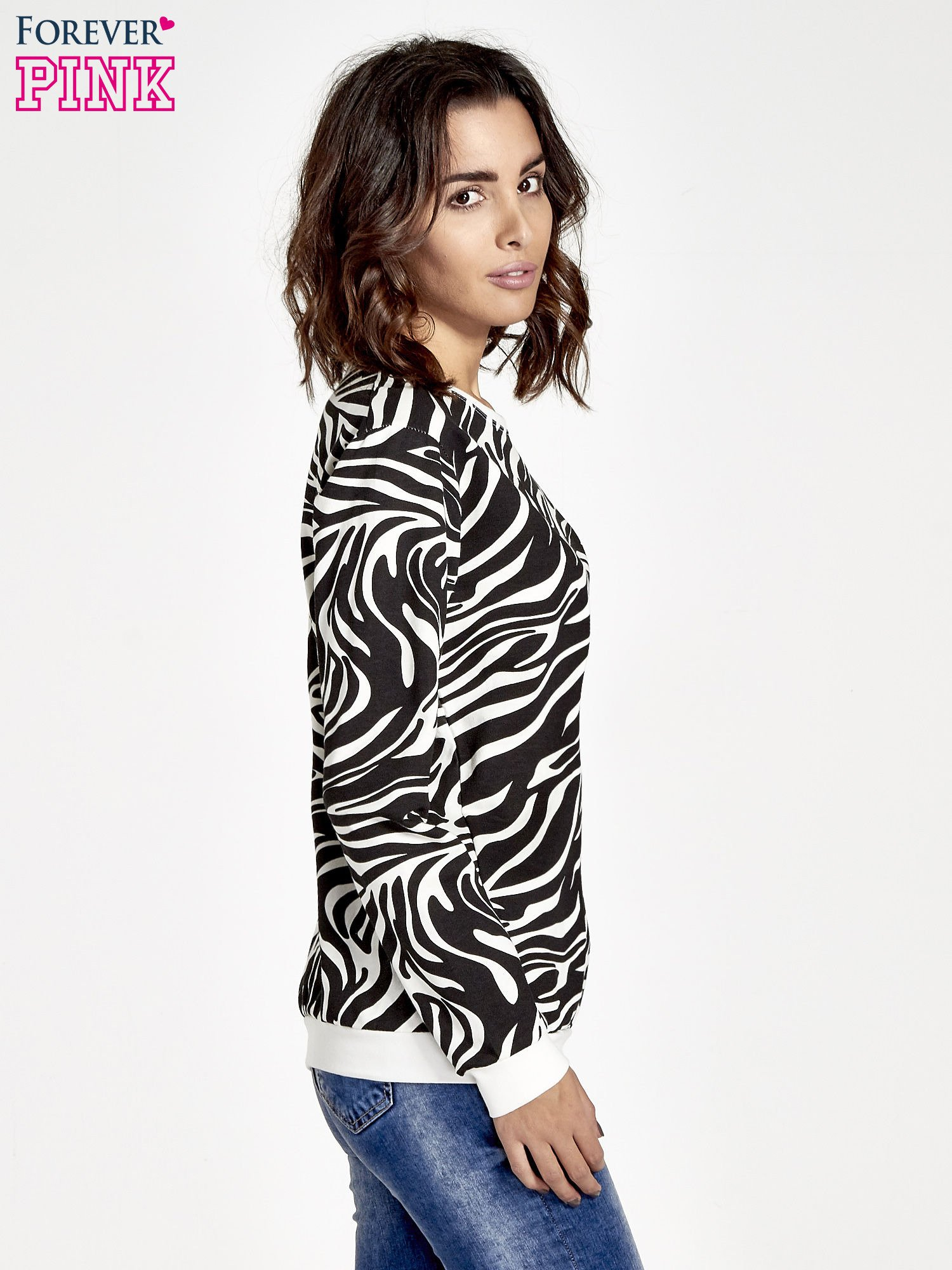 Czarna bluza z nadrukiem zebra print                                  zdj.                                  3