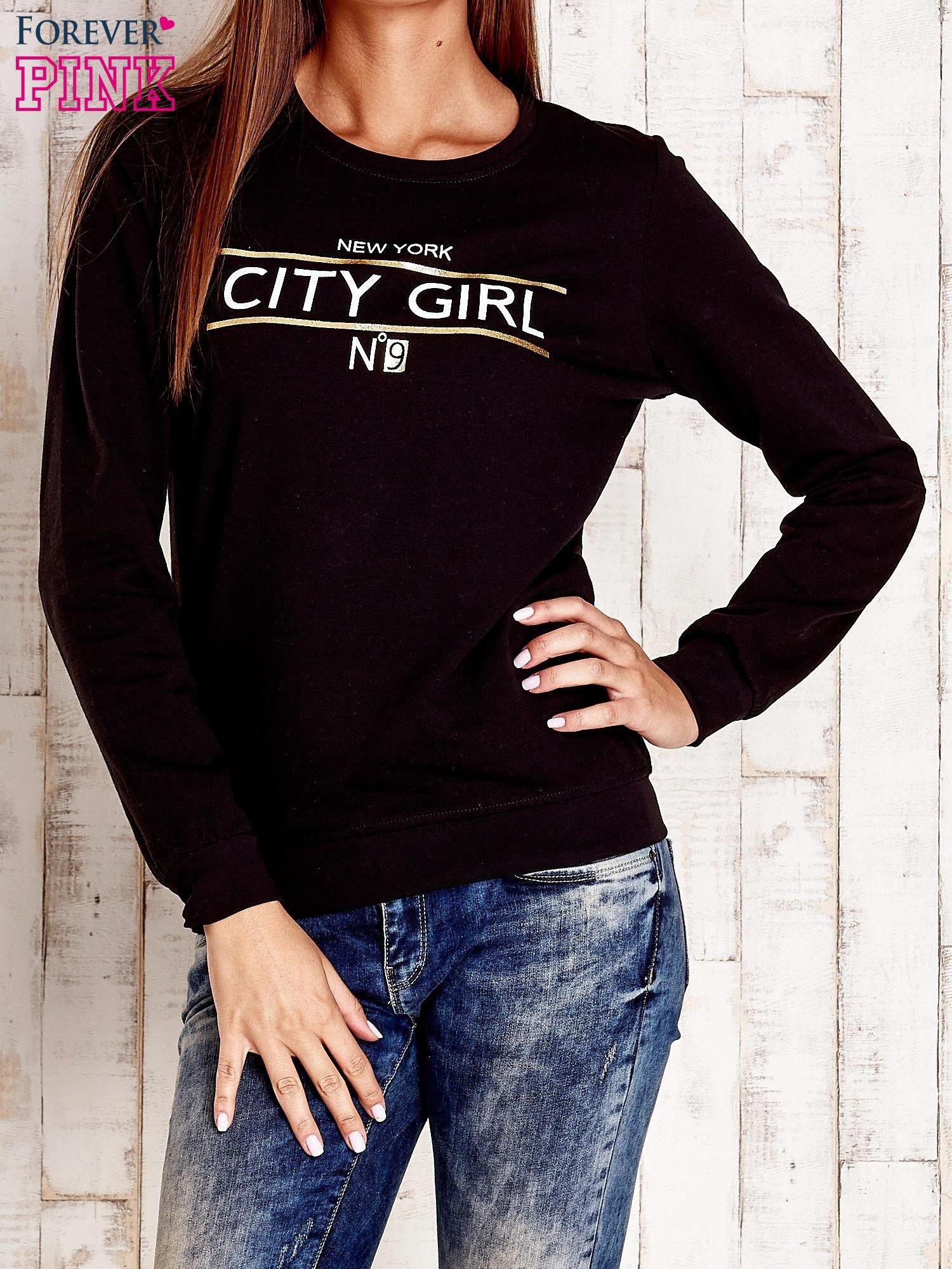 Czarna bluza z napisem CITY GIRL                                  zdj.                                  1