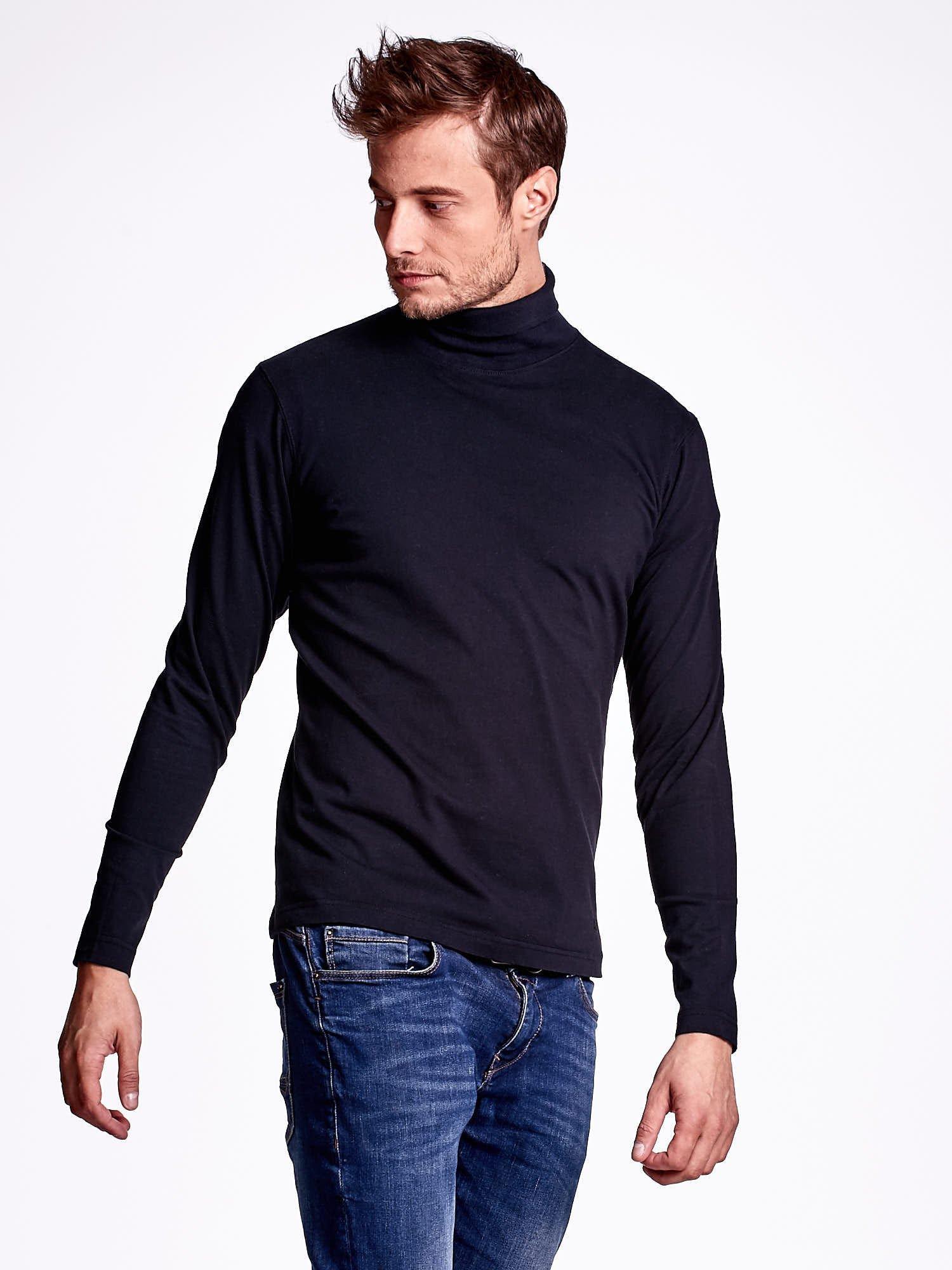 Czarna bluzka męska z golfem                                  zdj.                                  3