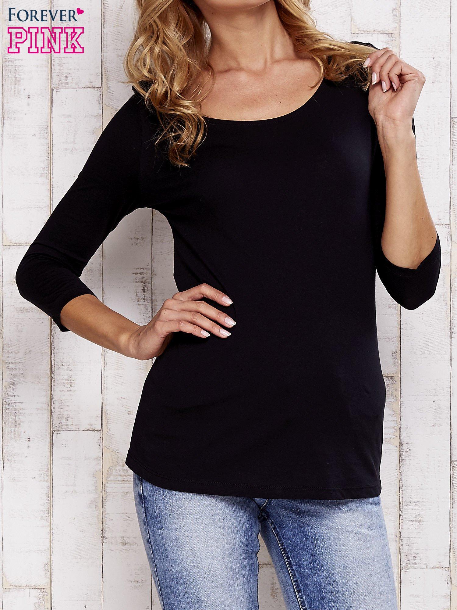 Czarna bluzka z koronkową wstawką na plecach                                  zdj.                                  1