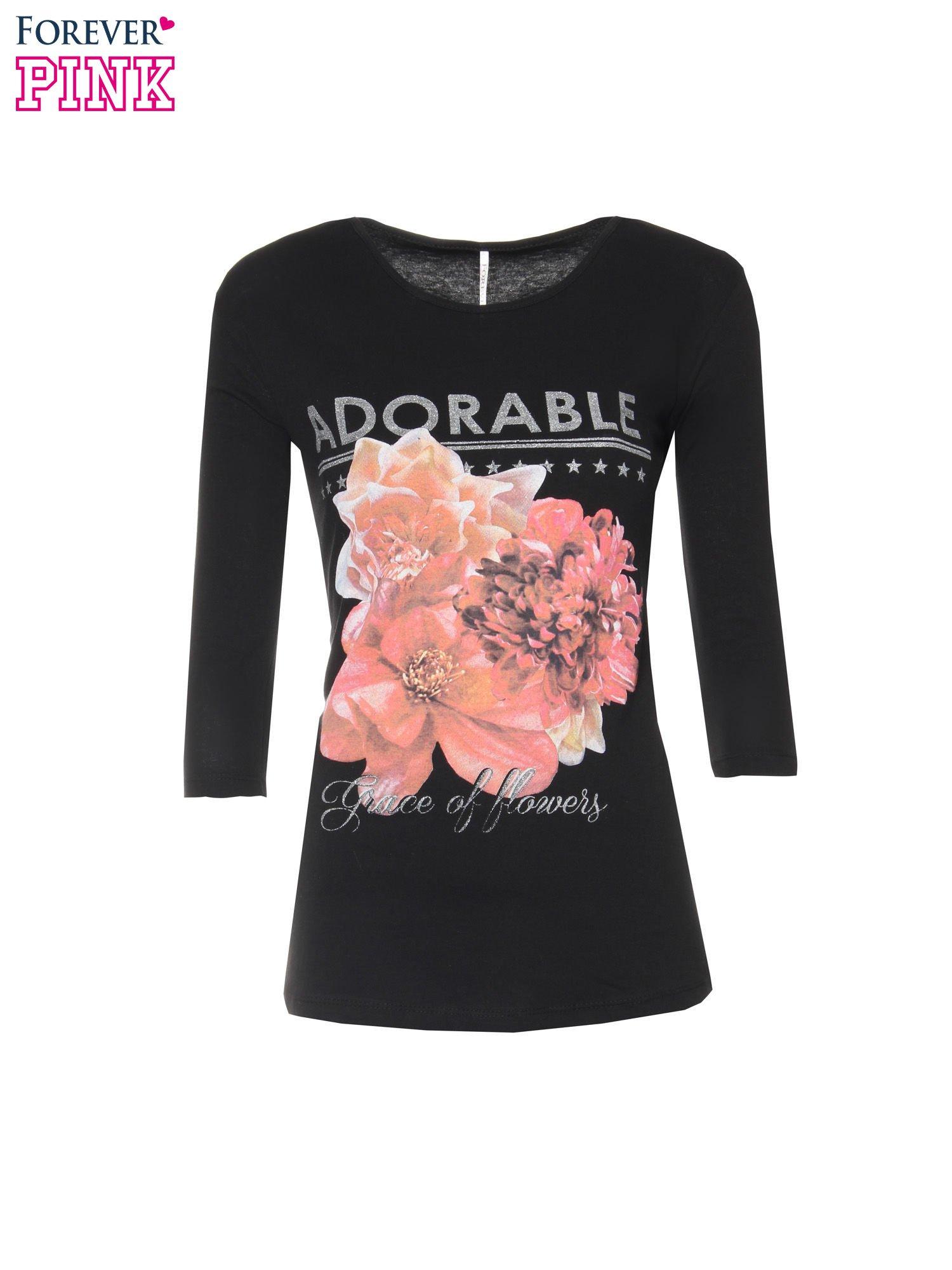 Czarna bluzka z motywem kwiatowym i napisem ADORABLE                                  zdj.                                  5