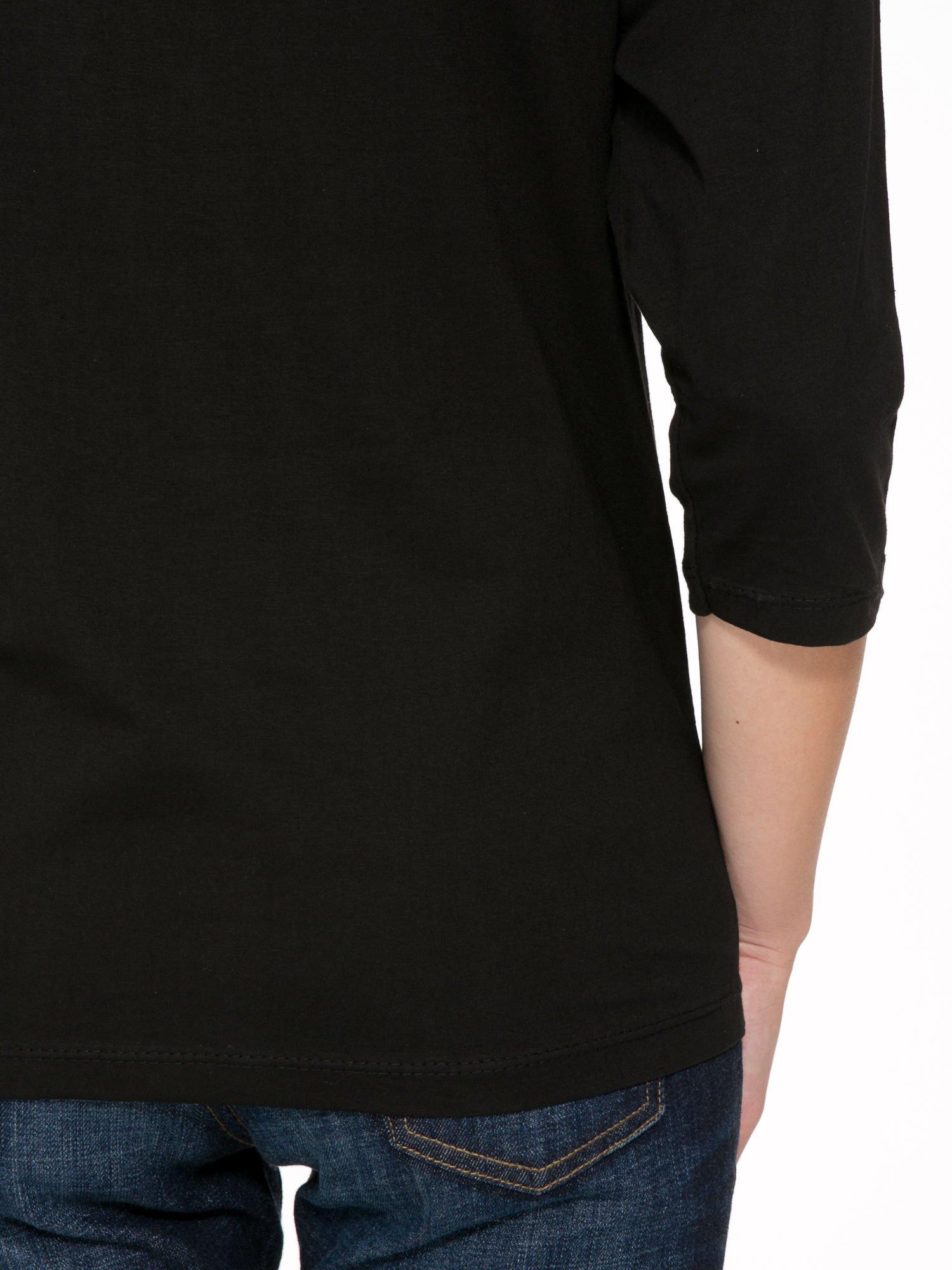 Czarna bluzka z nadrukiem kotka i napisem JUST WANNA HAVE FUN?                                  zdj.                                  9