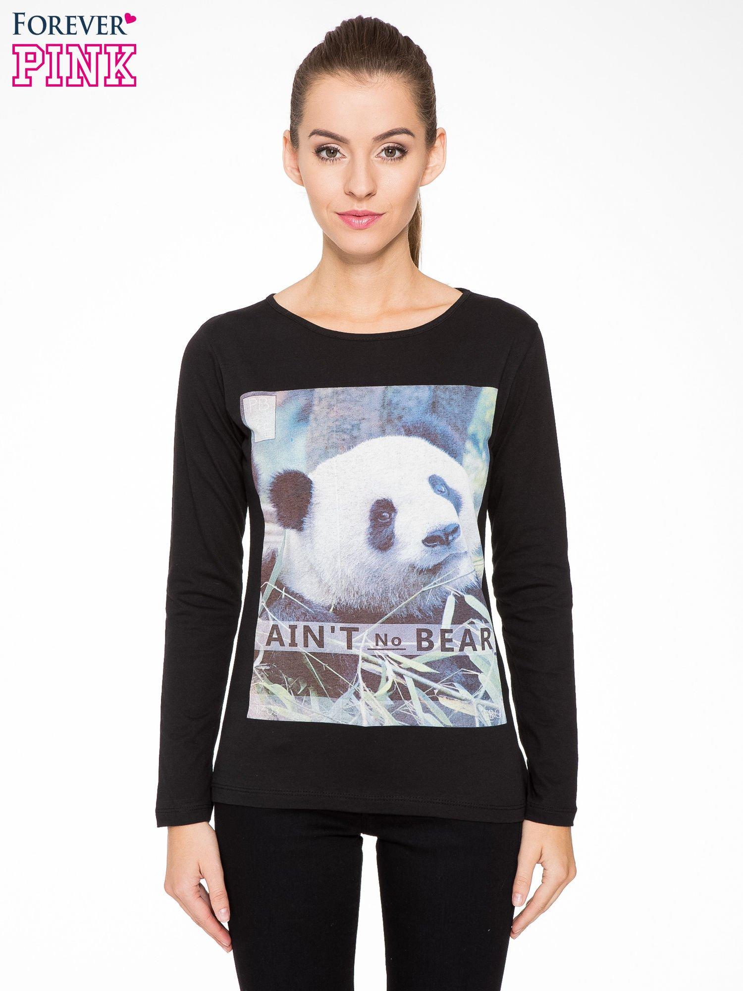 Czarna bluzka z nadrukiem pandy                                  zdj.                                  1
