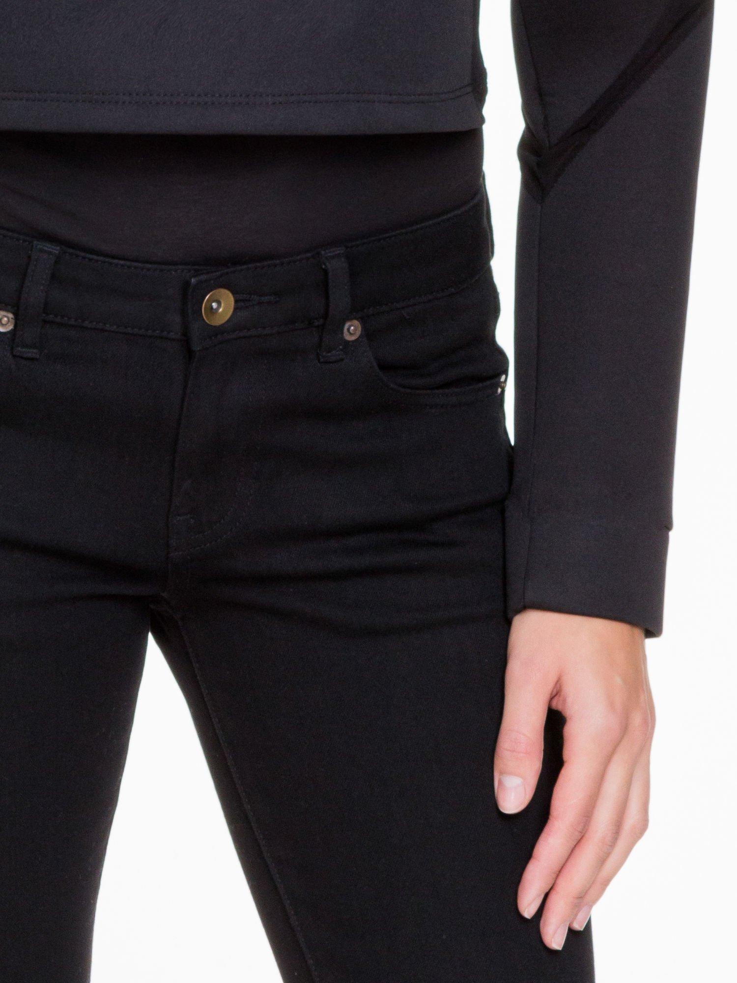 Czarna bluzka z neoprenu z tiulowymi wstawkami                                  zdj.                                  6