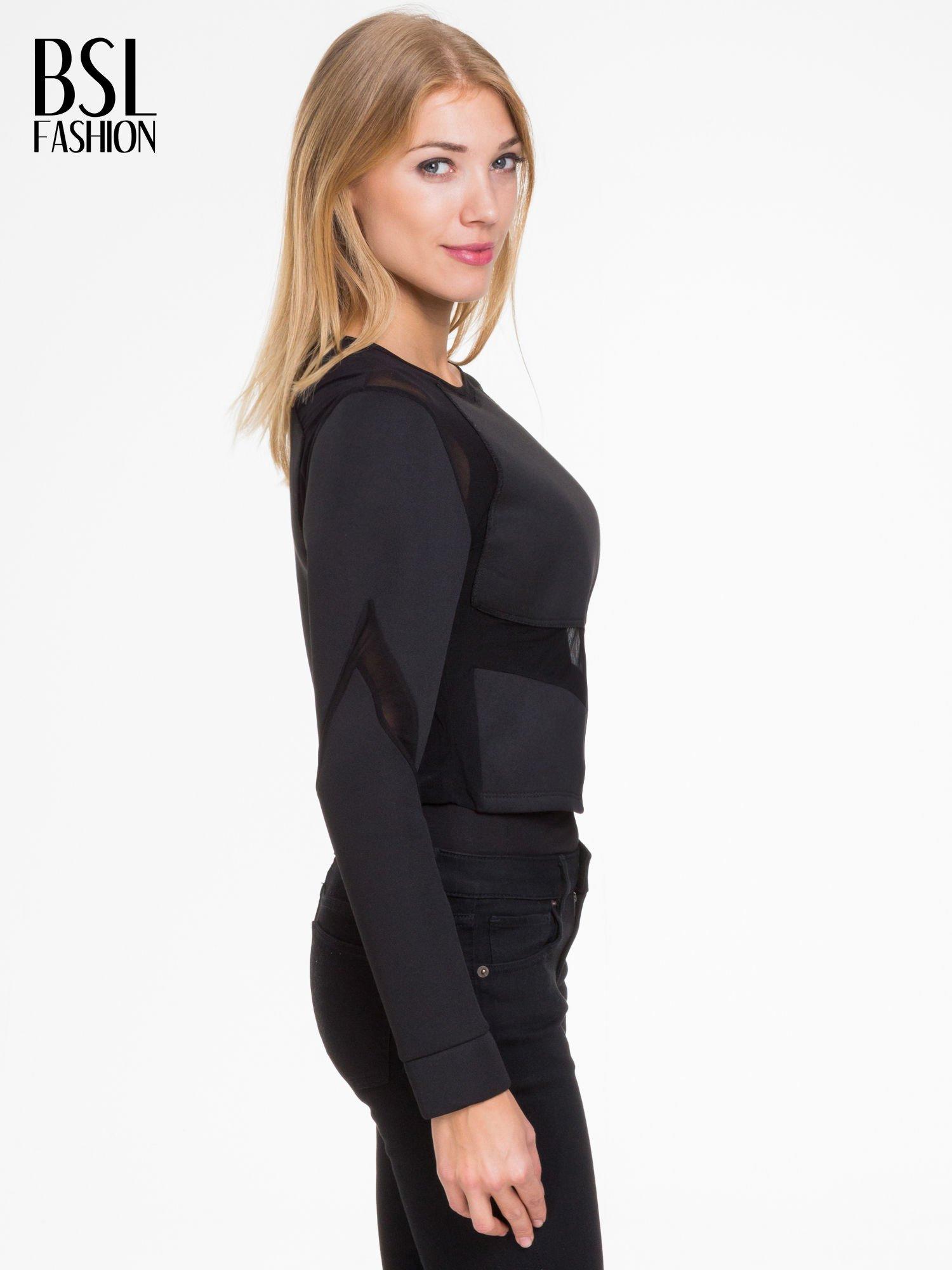 Czarna bluzka z neoprenu z tiulowymi wstawkami                                  zdj.                                  3