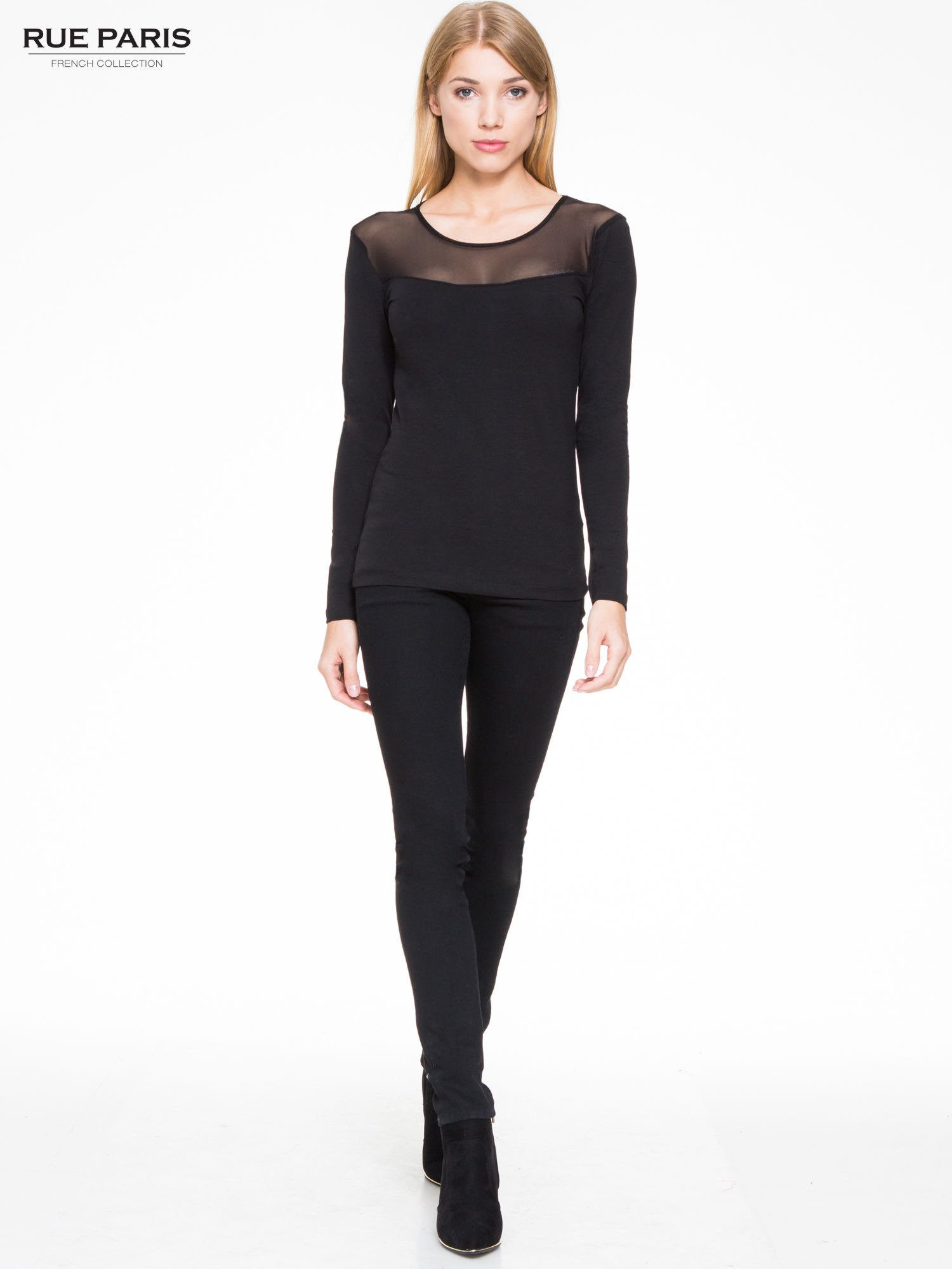 Czarna bluzka z tiulowym karczkiem                                  zdj.                                  2