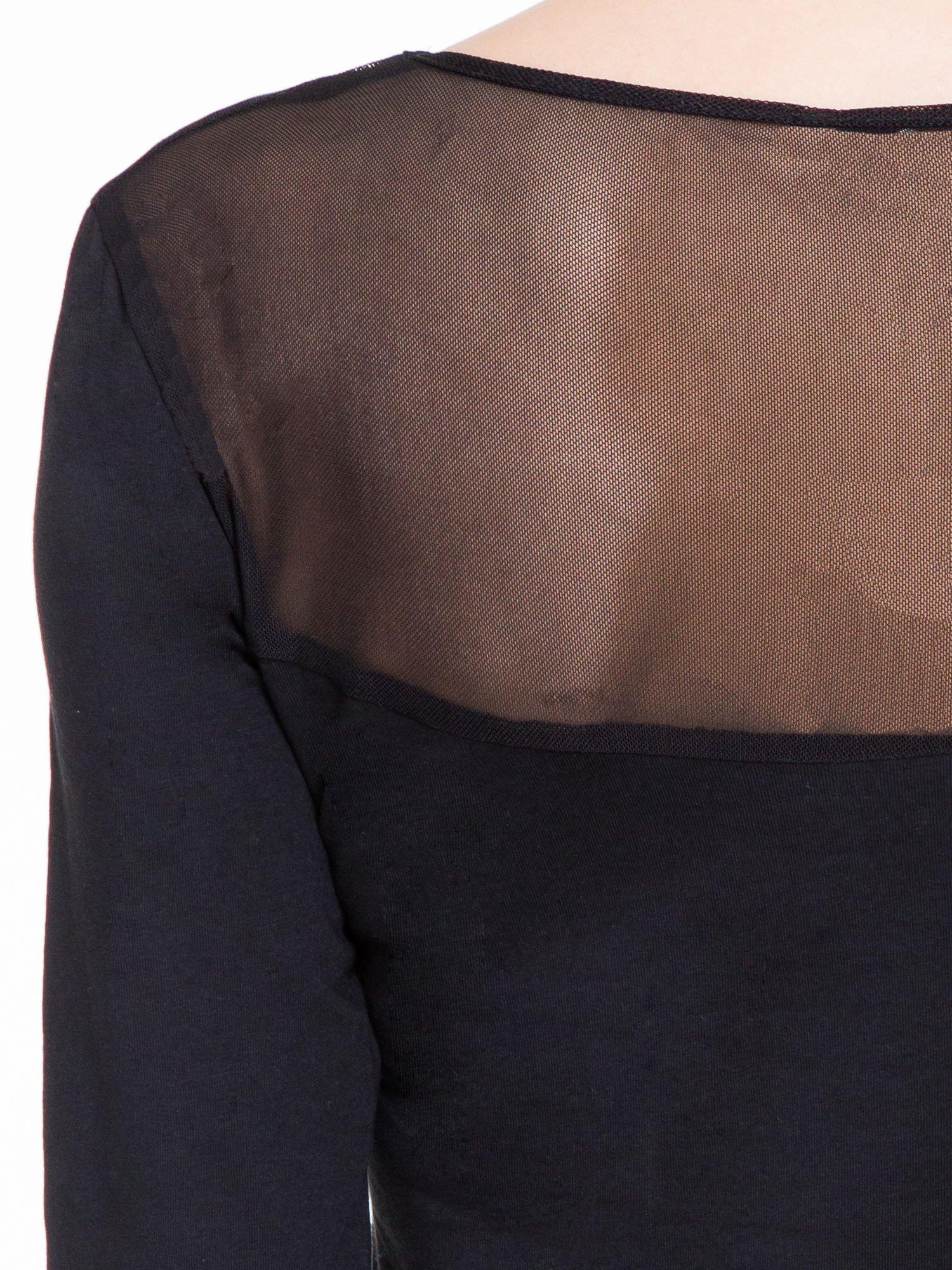 Czarna bluzka z tiulowym karczkiem                                  zdj.                                  7