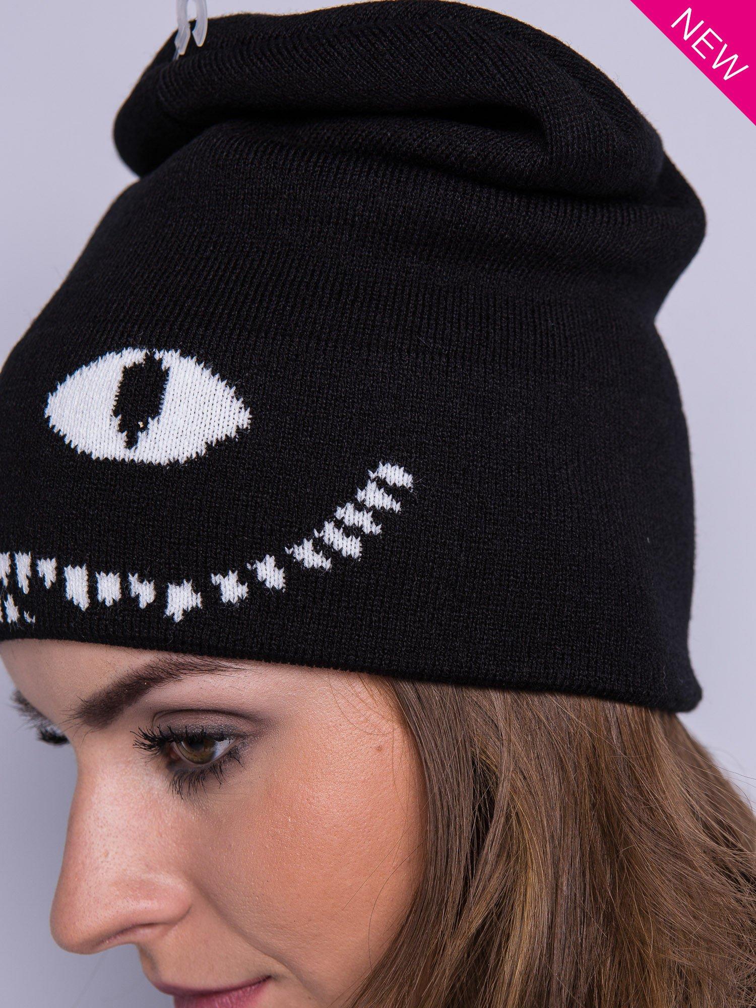 Czarna czapka beanie z oczami i z uśmiechem                                  zdj.                                  4
