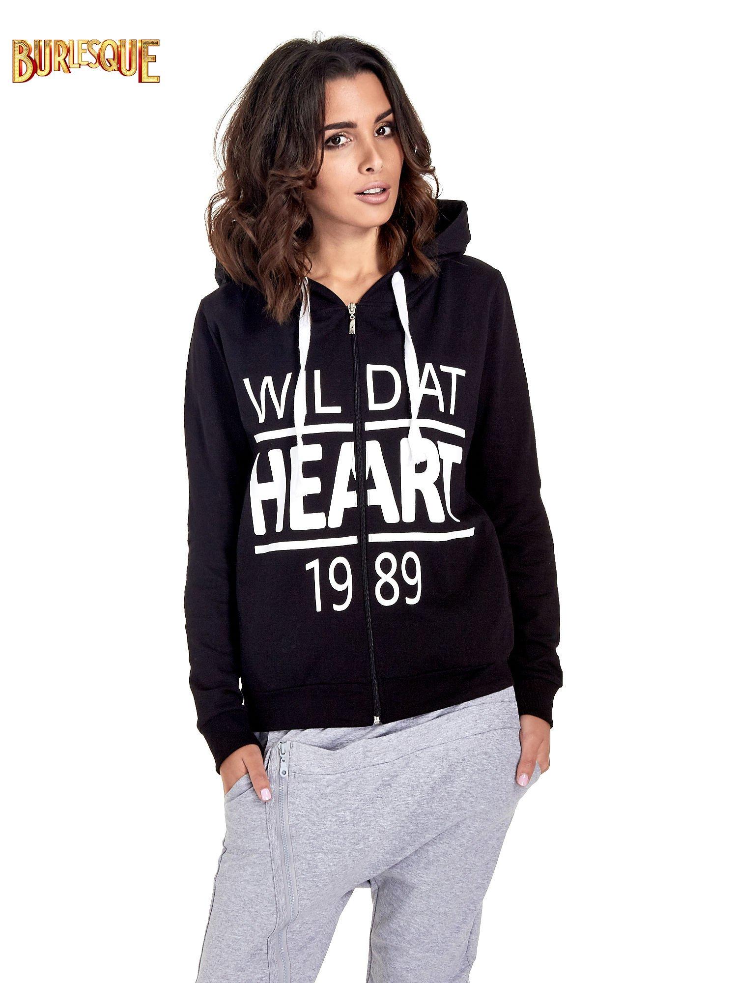 Czarna damska bluza z kapturem i napisem WILD AT HEART 1989                                  zdj.                                  1