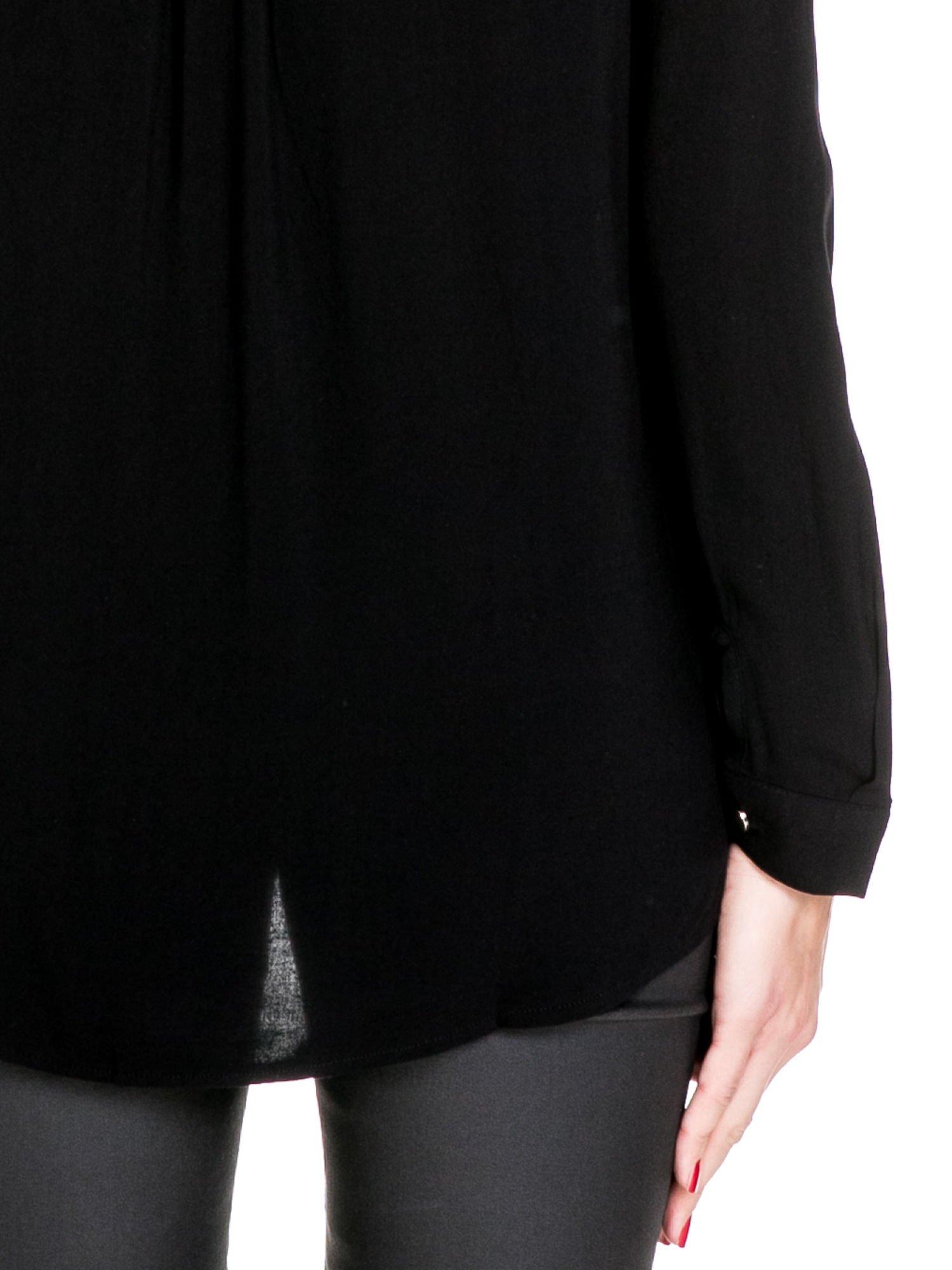 Czarna elegancka koszula z suwakami i napami                                  zdj.                                  8