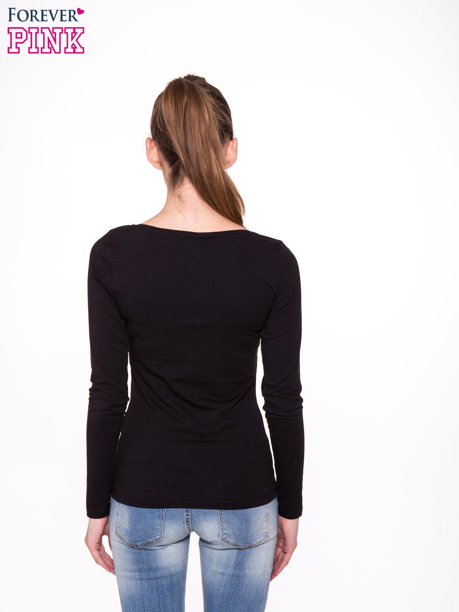 Czarna gładka bluzka z długim rękawem                                  zdj.                                  3