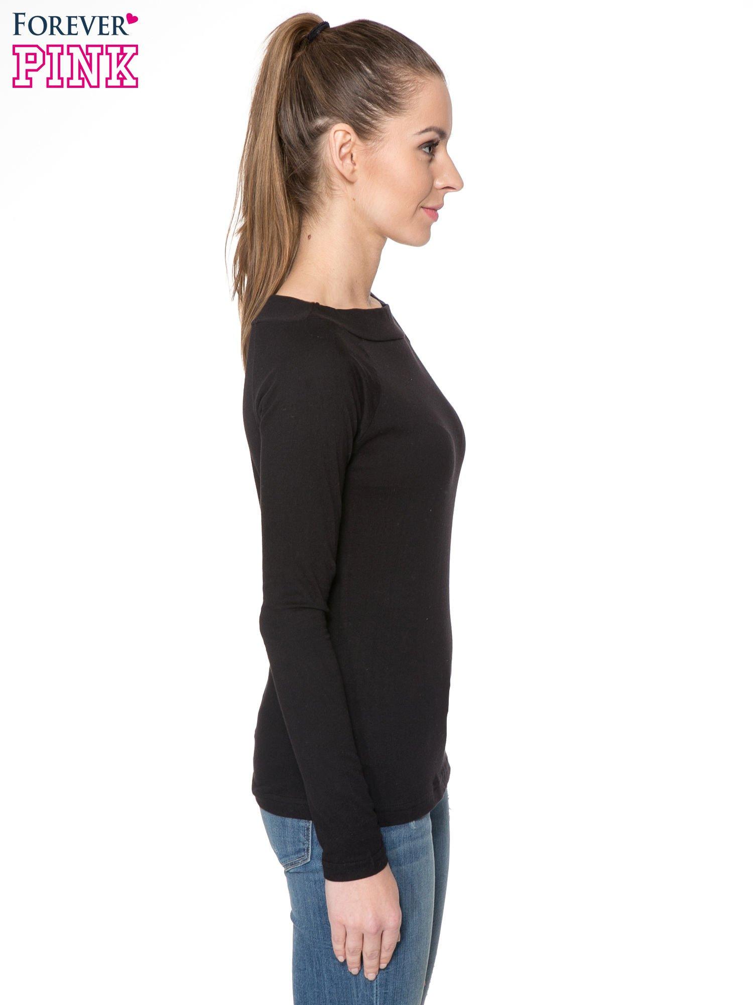 Czarna gładka bluzka z reglanowymi rękawami                                  zdj.                                  3
